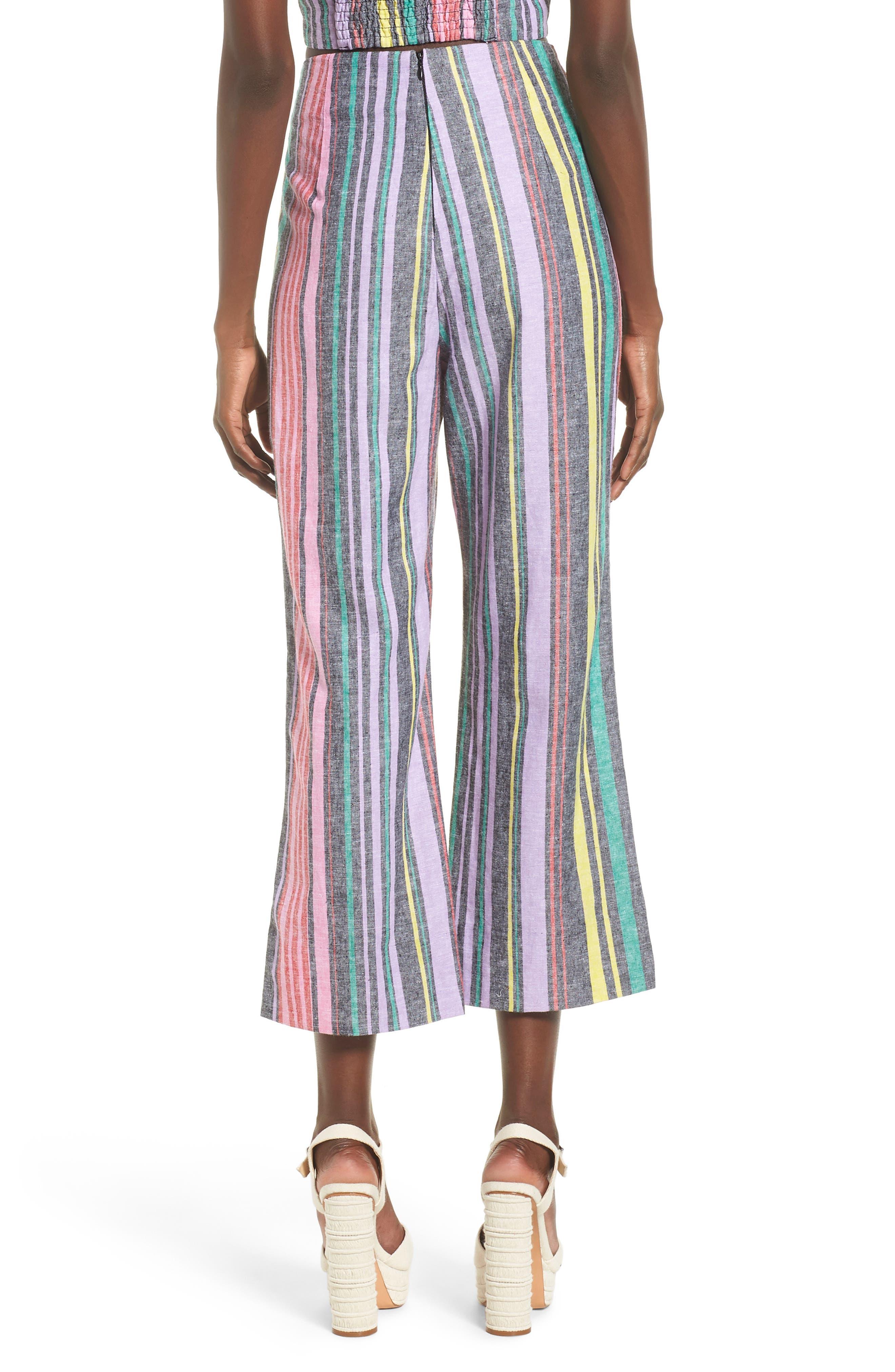 Karina High Waist Crop Flare Pant,                             Alternate thumbnail 3, color,                             Rainbow Stripe