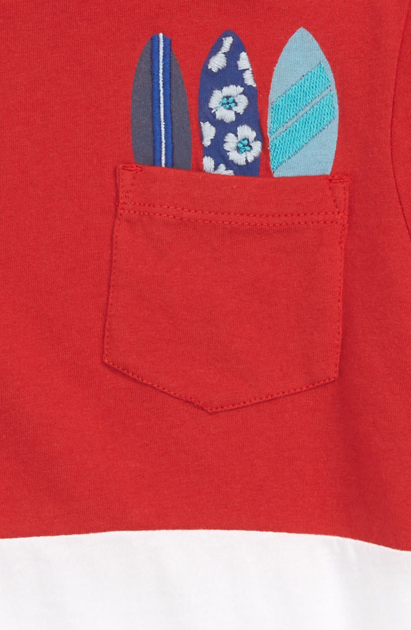 Embroidered Pocket T-Shirt,                             Alternate thumbnail 2, color,                             Red Samba- White