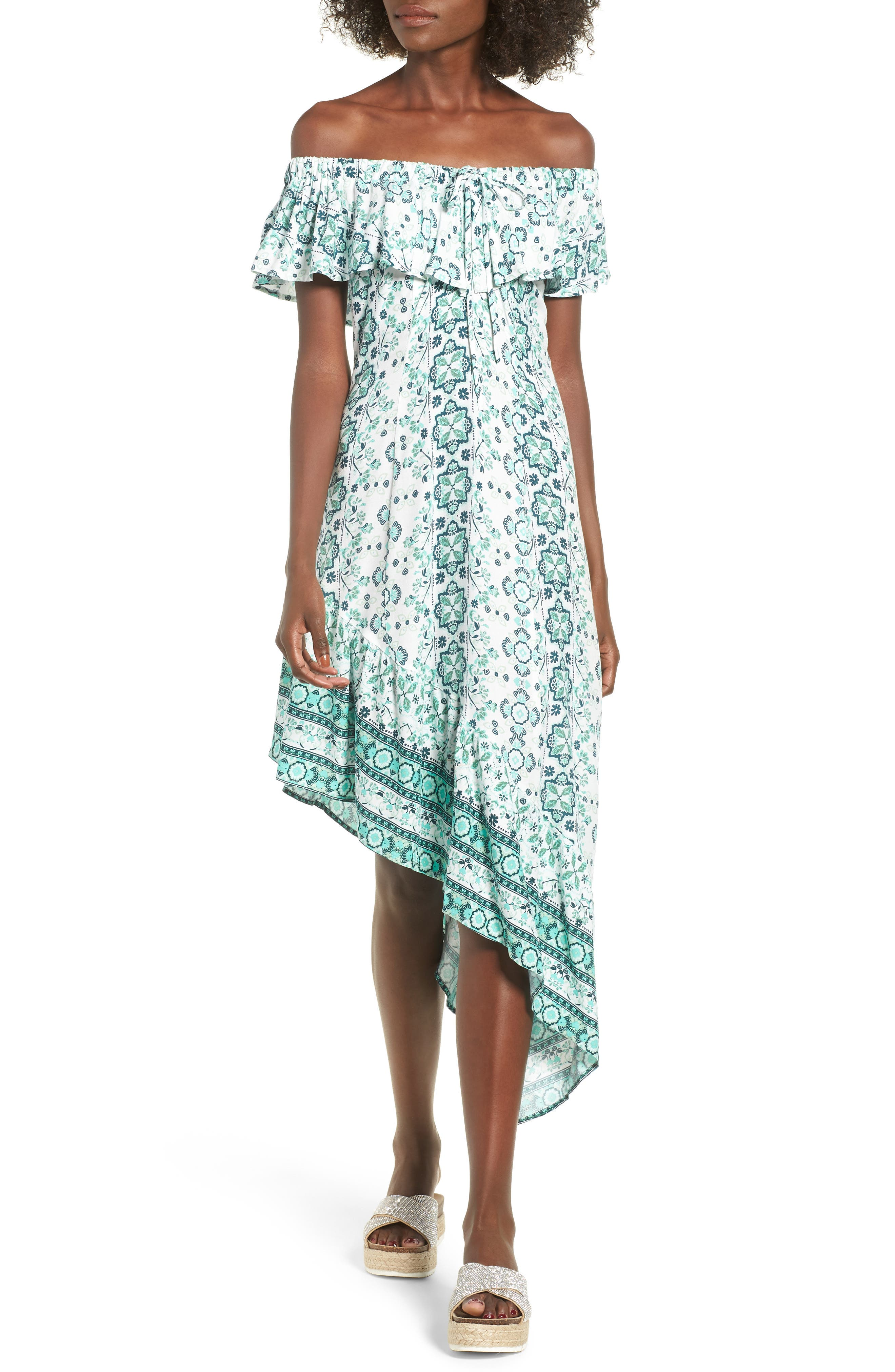 Coastal Mountains Off the Shoulder Asymmetrical Dress,                         Main,                         color, Multi