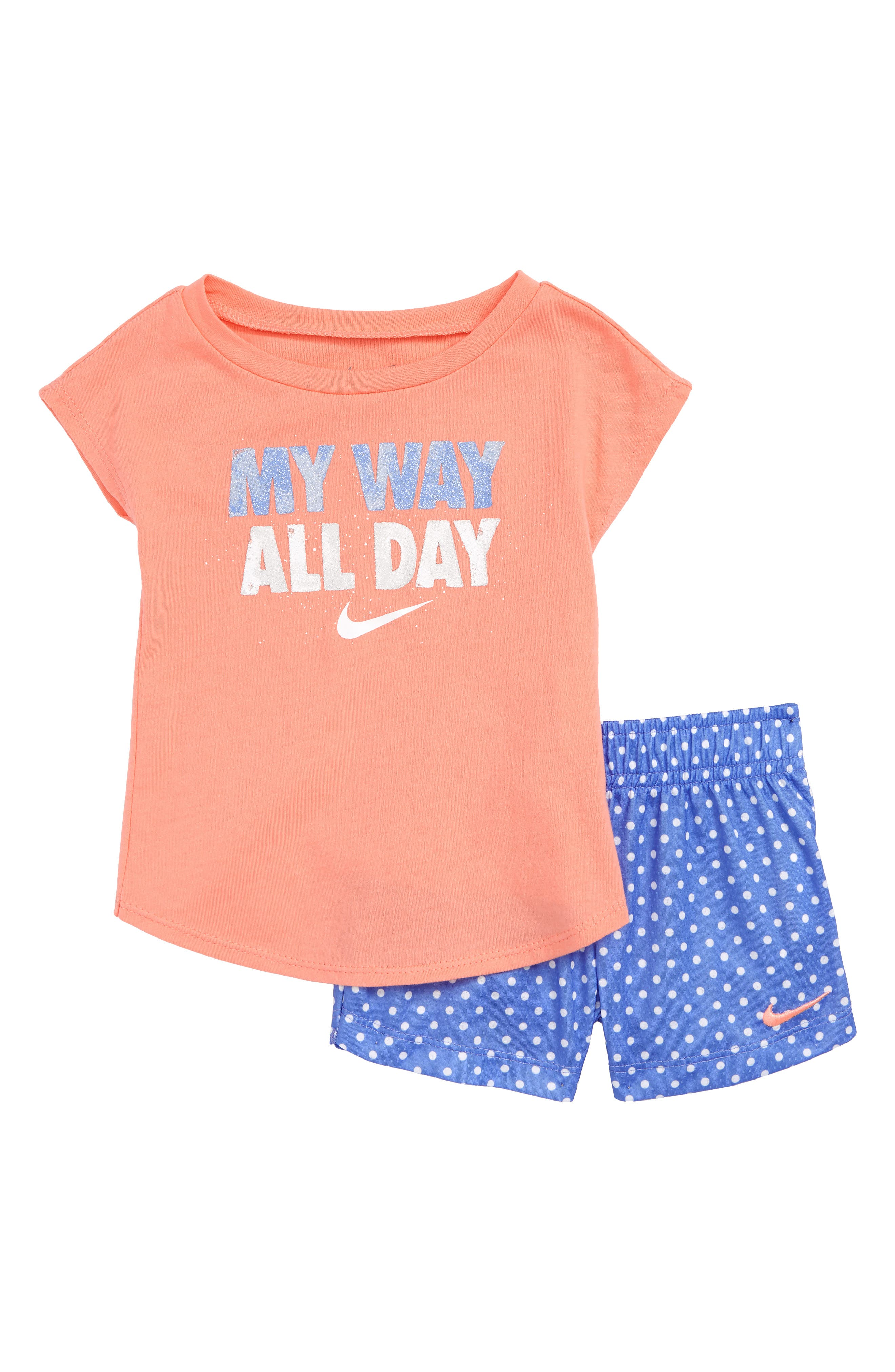 My Way All Day Graphic Tee & Shorts Set,                             Main thumbnail 1, color,                             Royal Pulse