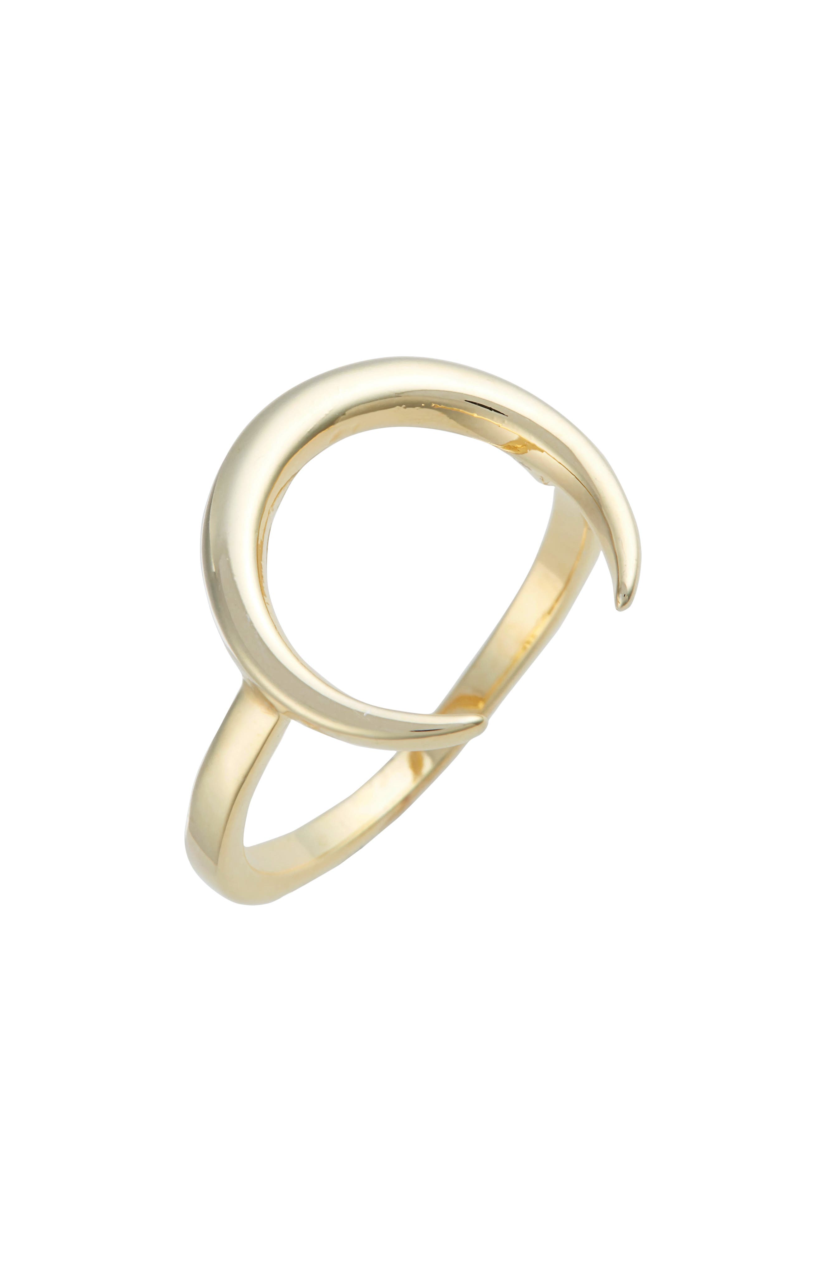 Brave Horn Ring,                         Main,                         color, Gold