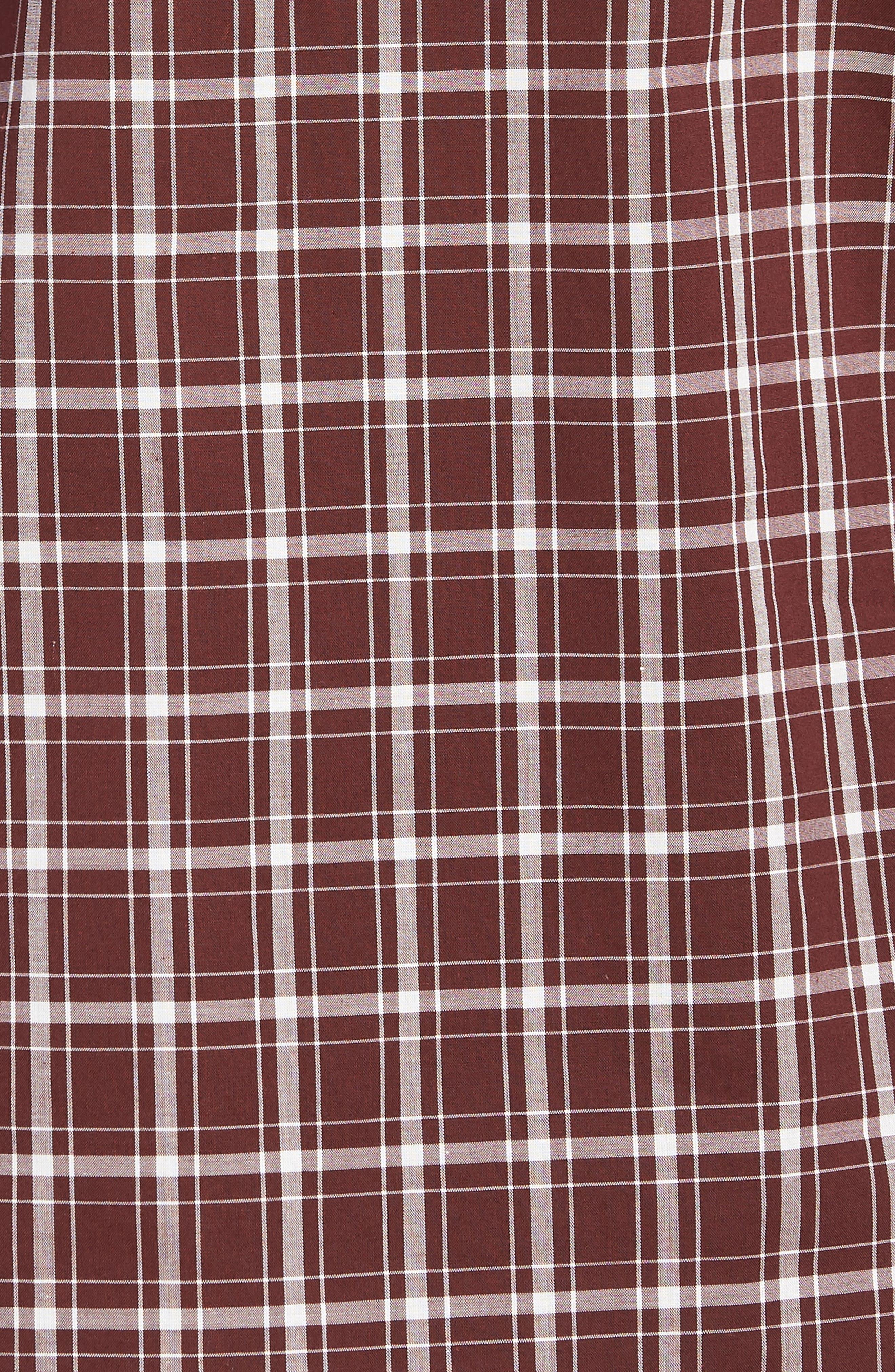 Classic Fit Plaid Sport Shirt,                             Alternate thumbnail 5, color,                             Black Cherry