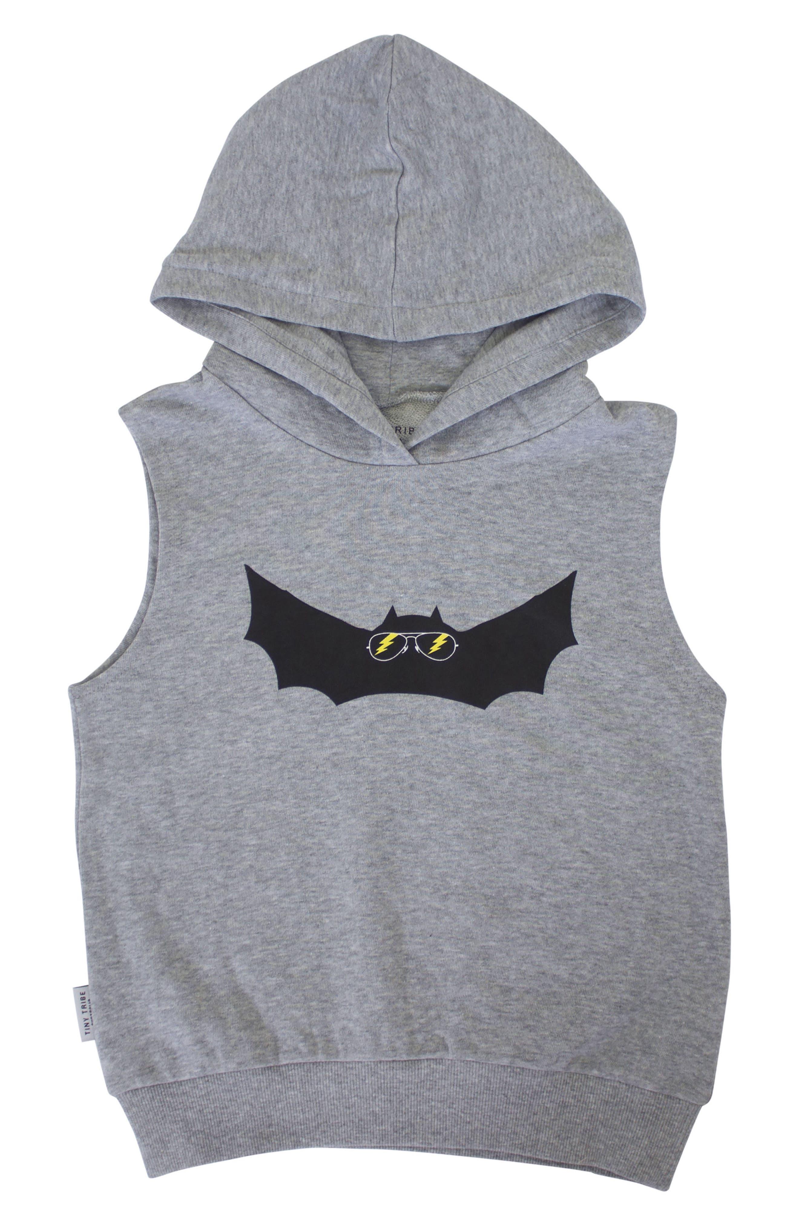 Electric Bat Hooded Vest,                         Main,                         color, Grey