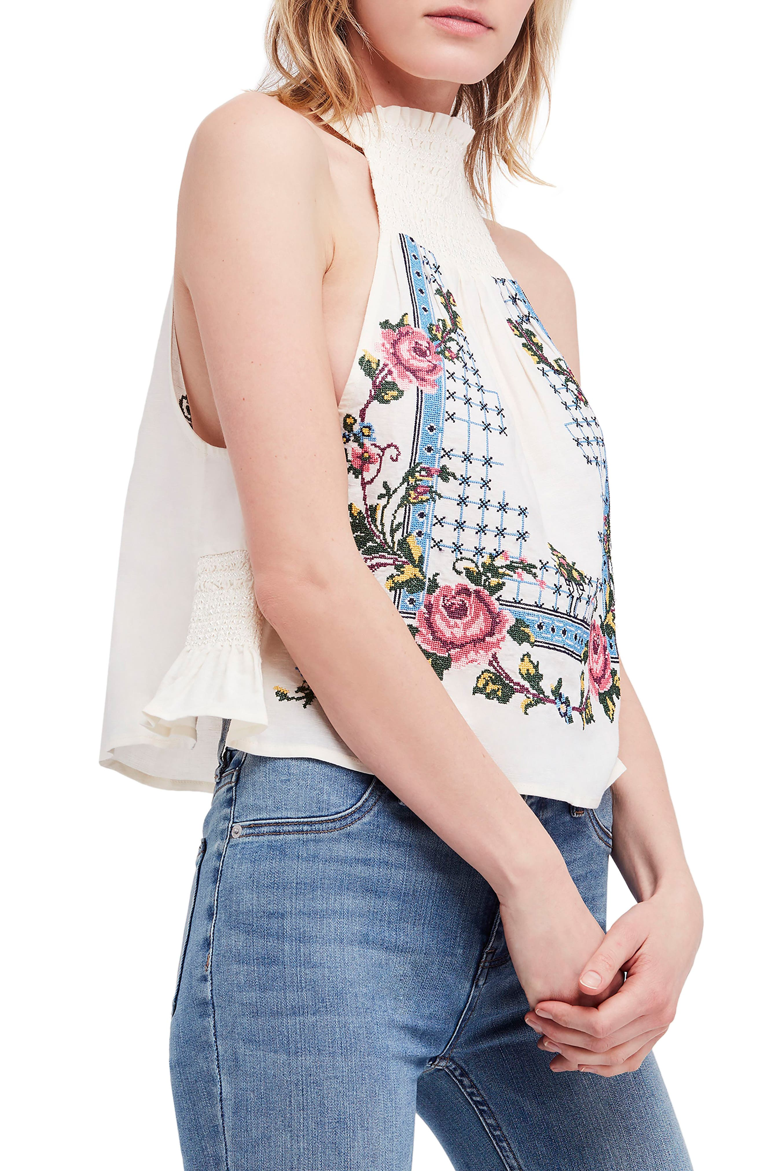 Honey Pie Embroidered Tank,                             Main thumbnail 1, color,                             Ivory