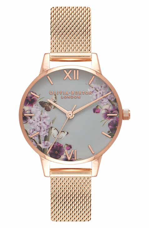 36521e7e9abd Olivia Burton Enchanted Garden Mesh Strap Watch