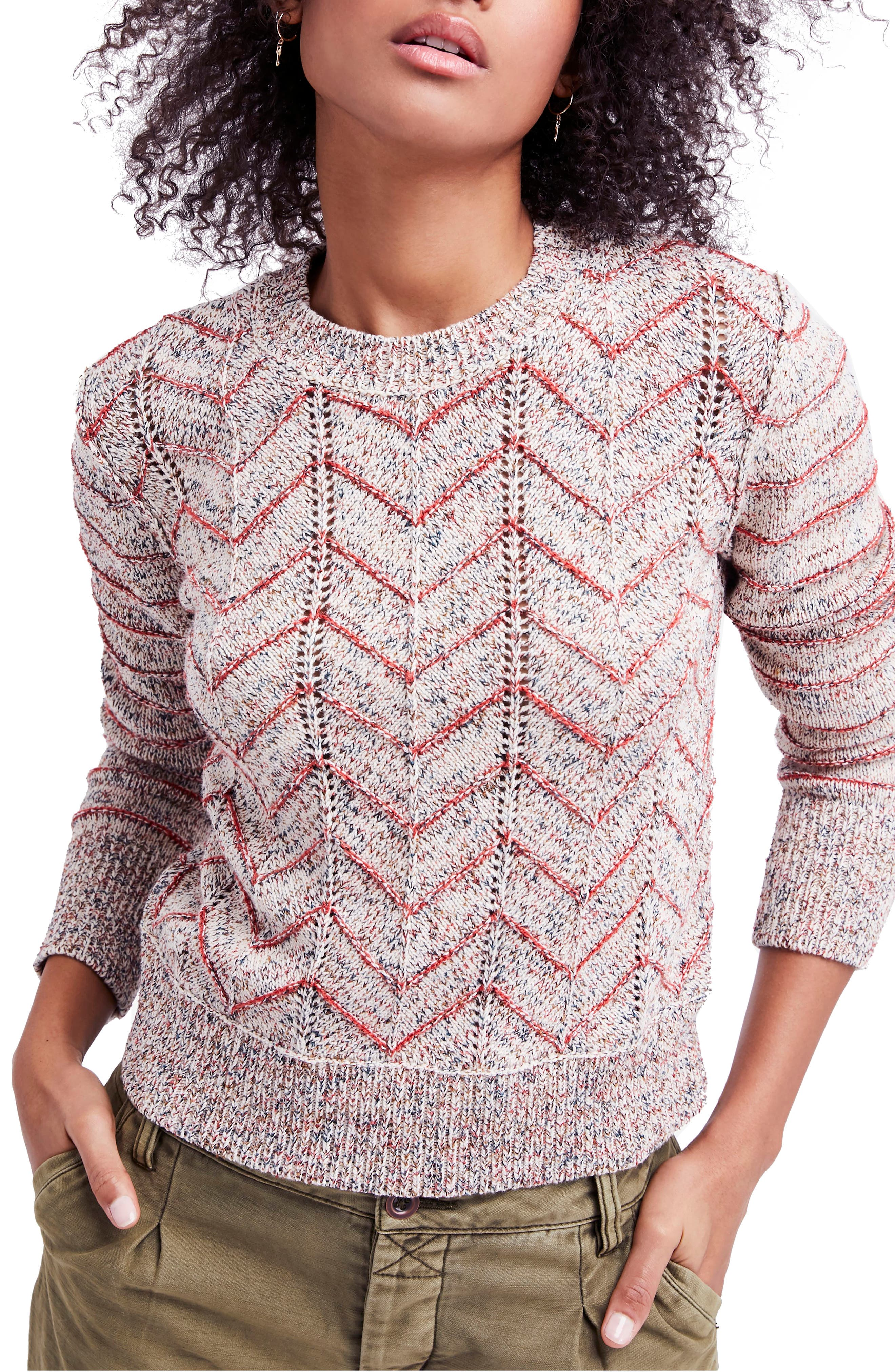 Zigzag Pullover,                         Main,                         color, Ivory