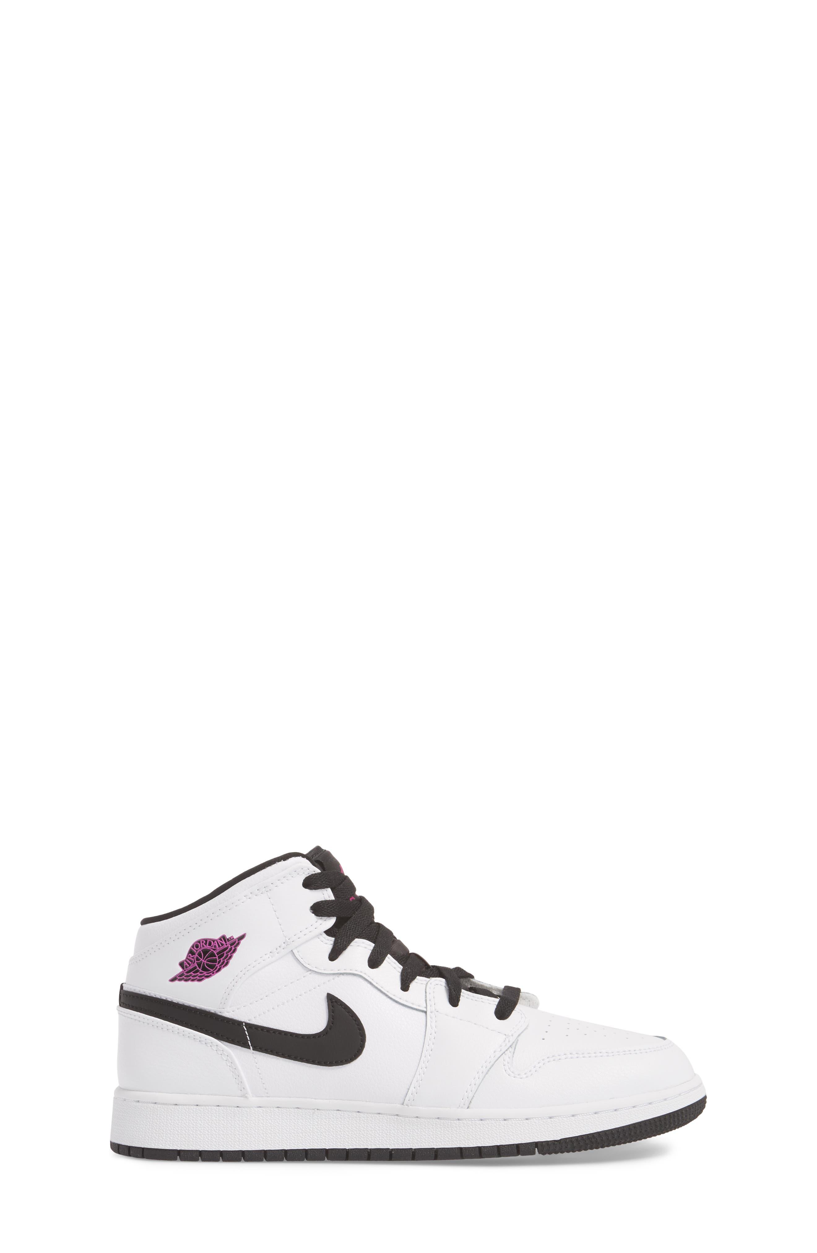 Nike 'Air Jordan 1 Mid' Sneaker,                             Alternate thumbnail 3, color,                             White/ Fuchsia Blast/ Black