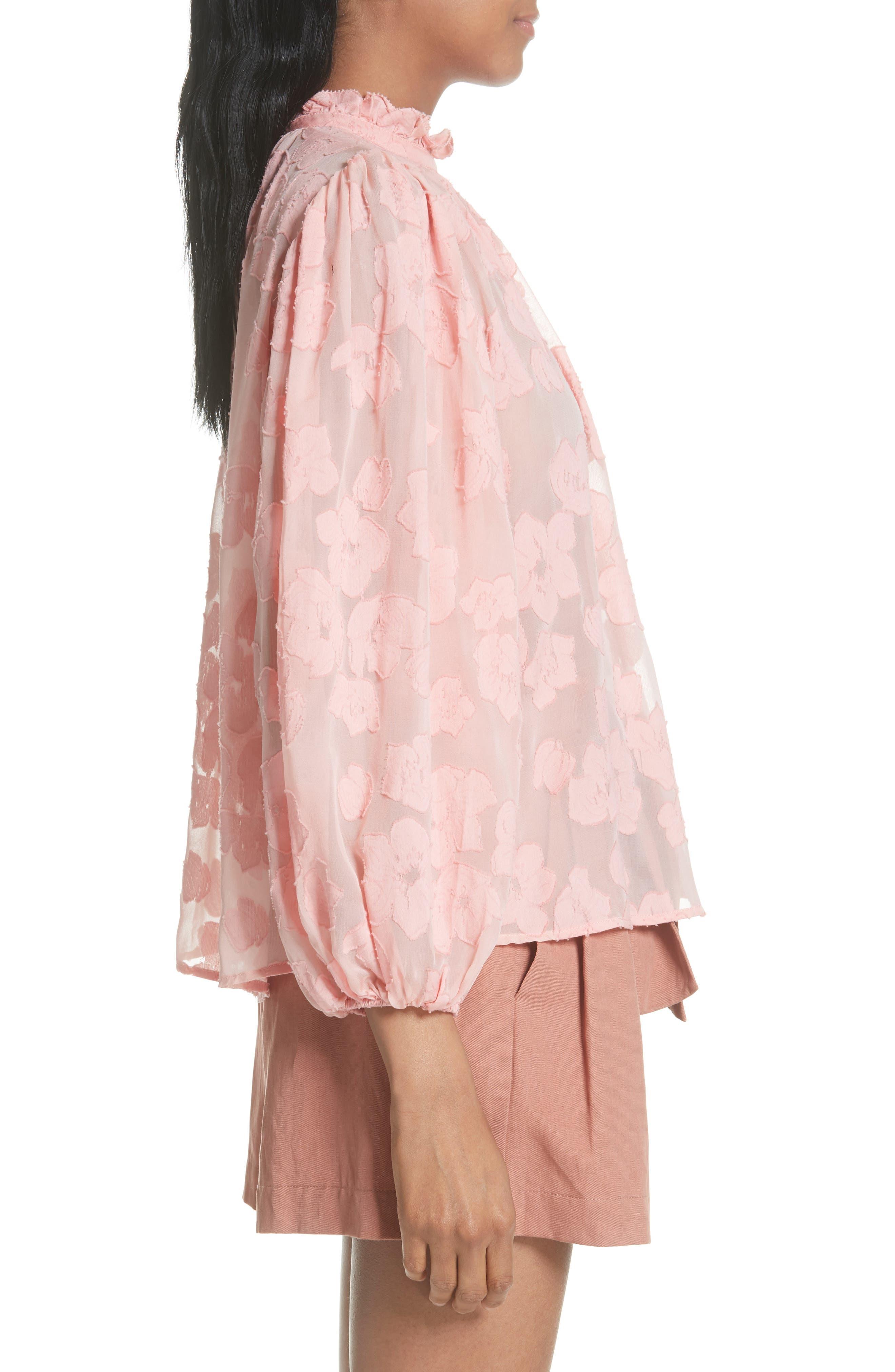 Sandrine Silk & Cotton Jacquard Blouse,                             Alternate thumbnail 3, color,                             Bubblegum
