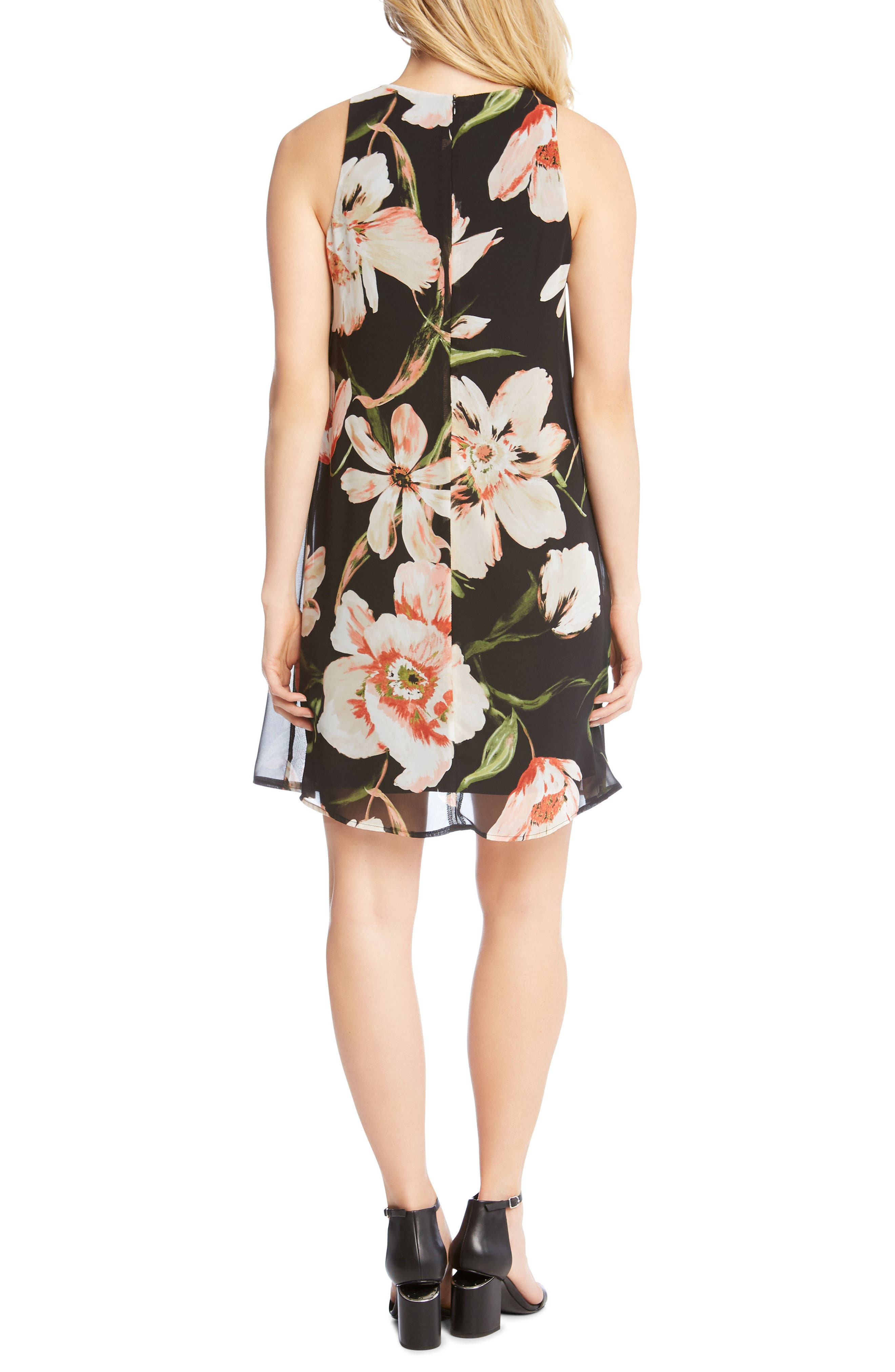 Sheer Floral Overlay Shift Dress,                             Alternate thumbnail 3, color,                             Print