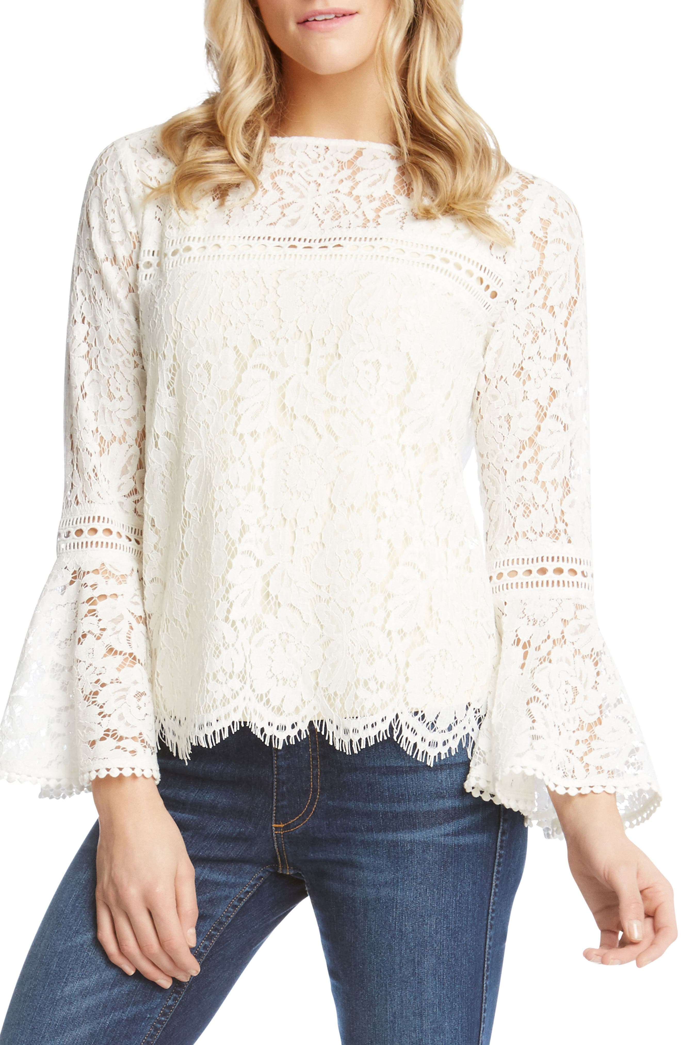 Embellished Lace Bell Sleeve Top,                         Main,                         color, Off White