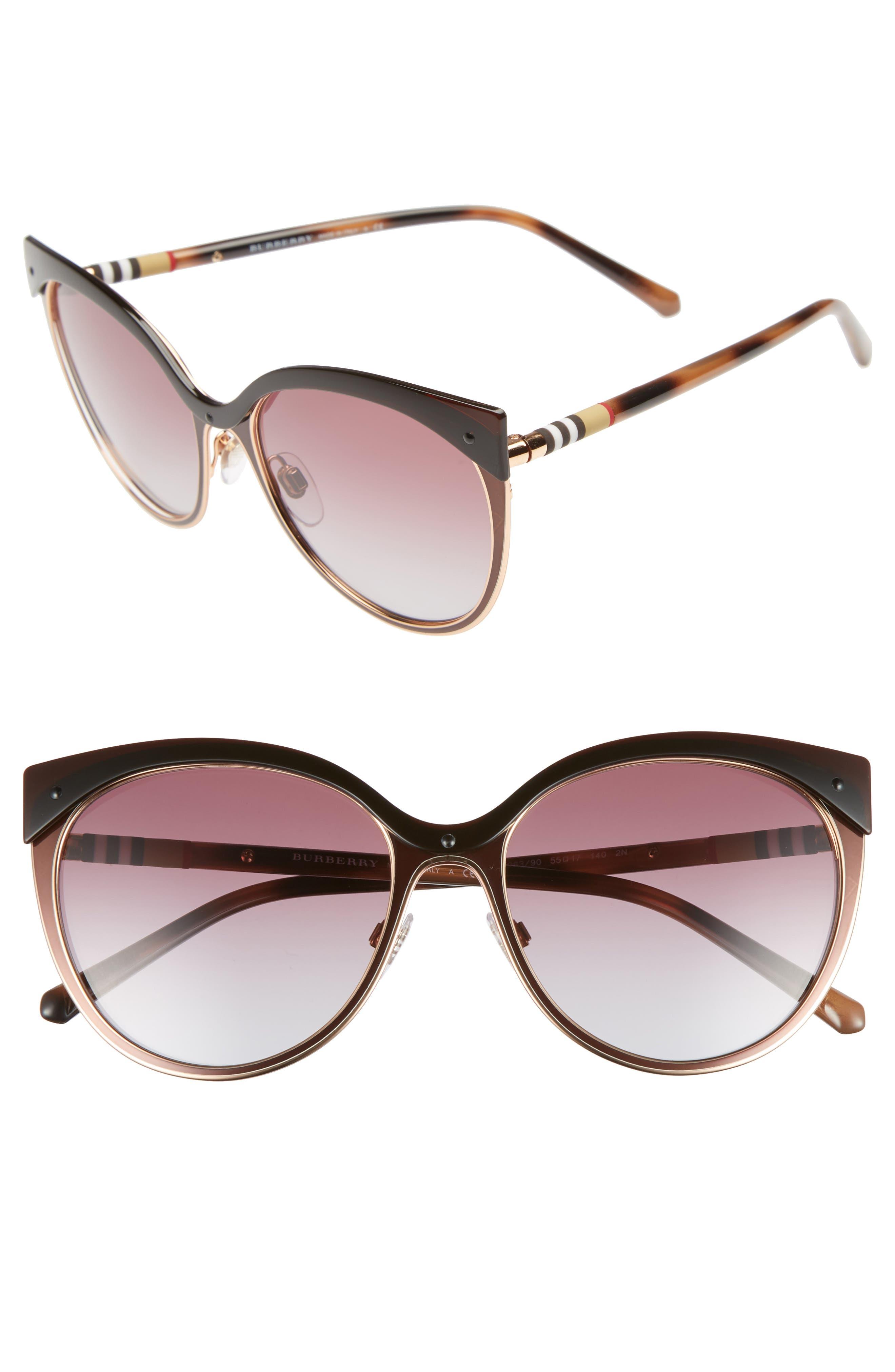 Burberry Heritage 55mm Cat Eye Sunglasses