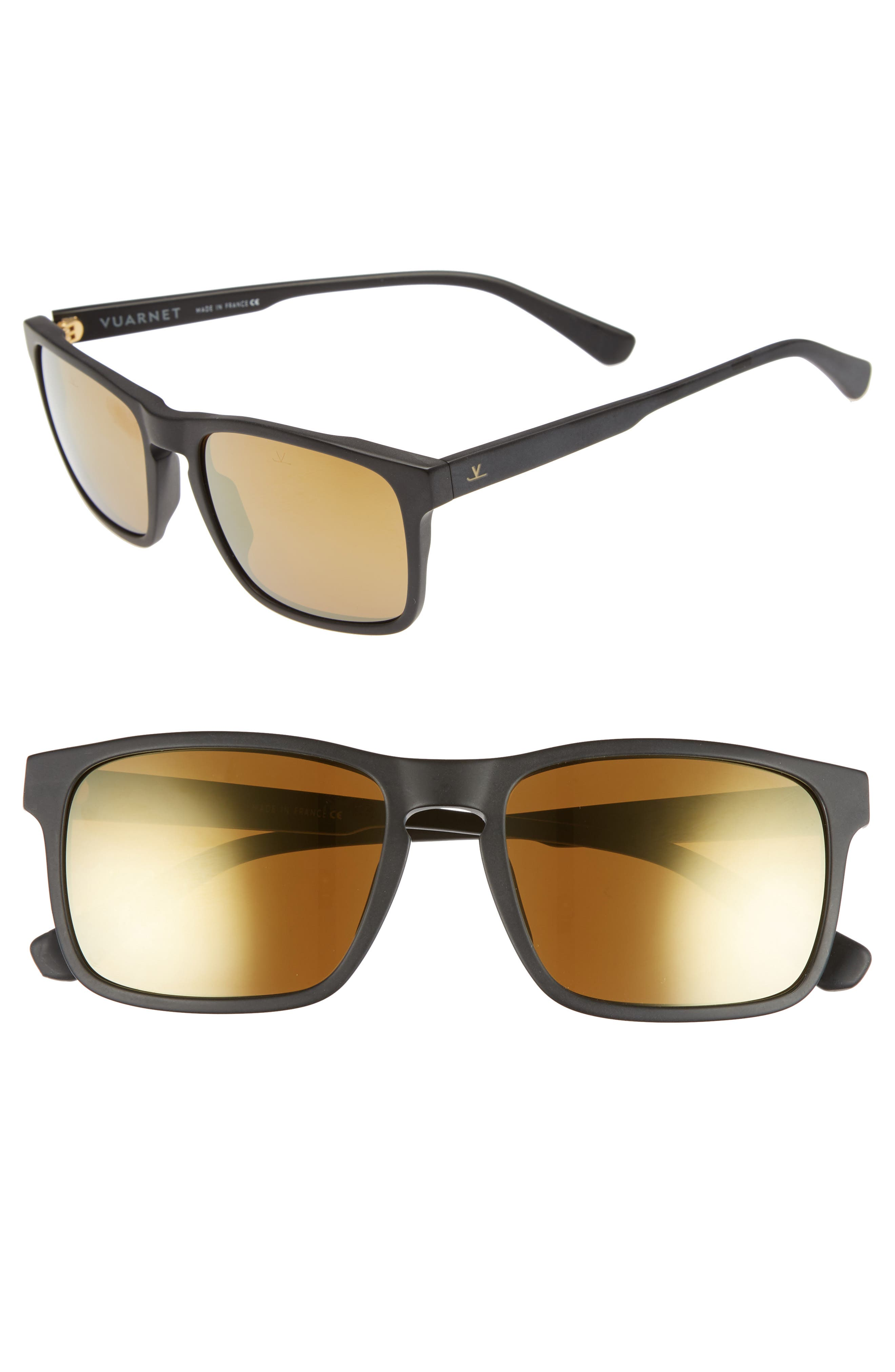 VUARNET Men'S District Large Rectangular Acetate Sunglasses in Black