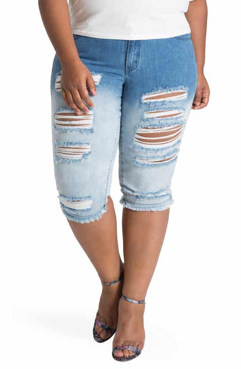 Poetic Justice Lelahni Distressed Ombré Denim Capris (Plus Size)