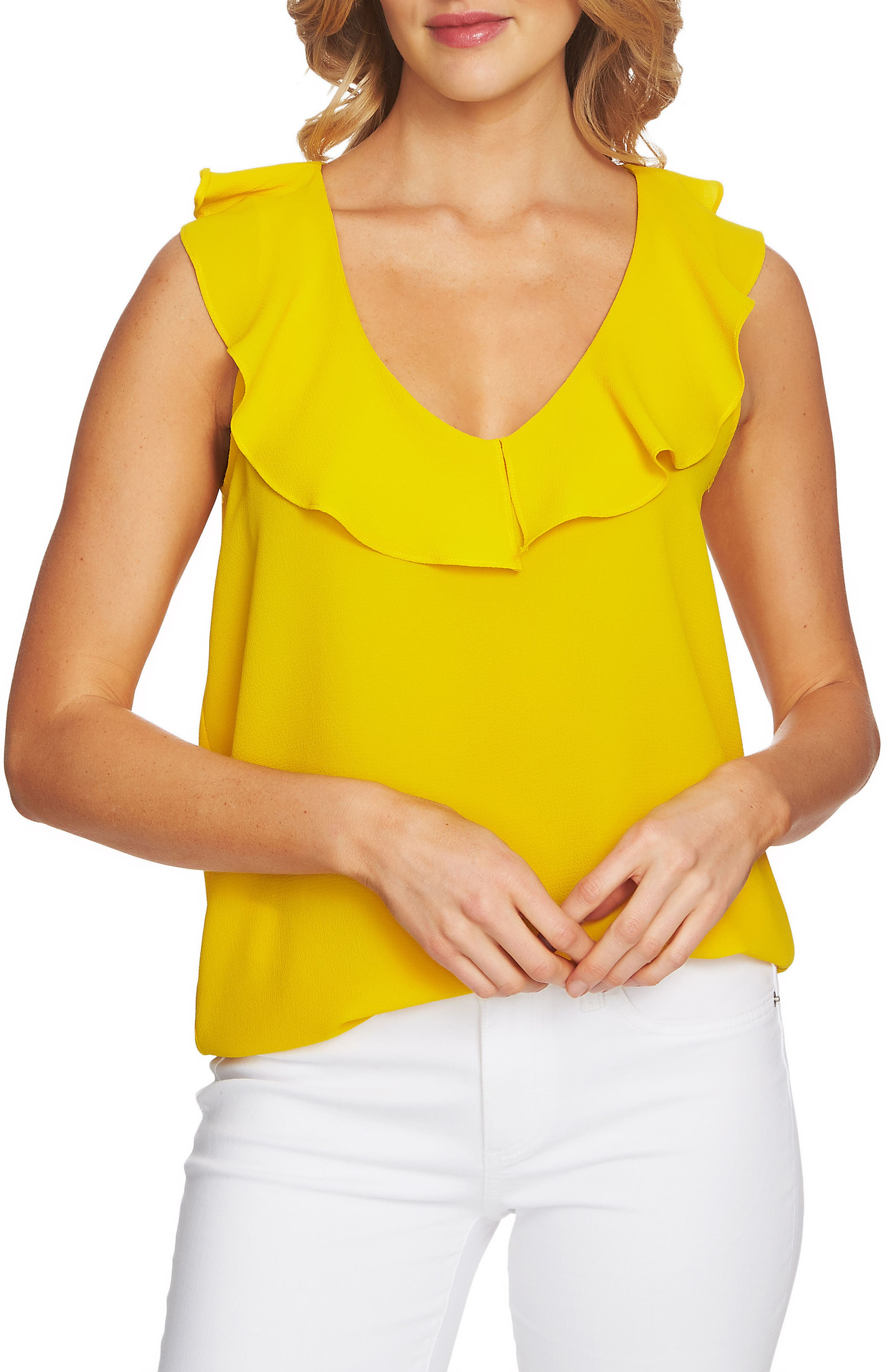 CeCe V-neck Ruffled Blouse