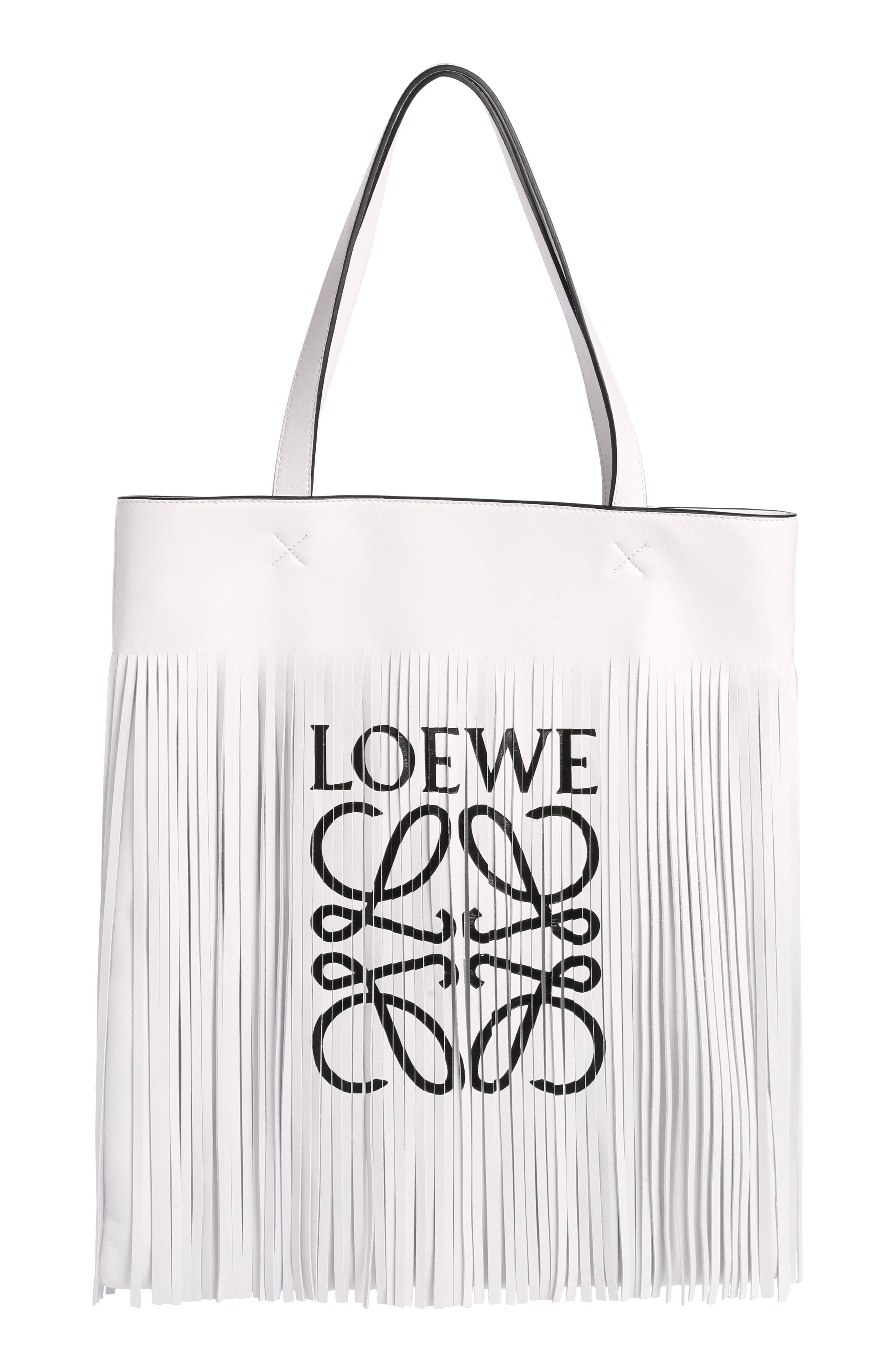 Loewe Vertical Logo Fringe Lambskin Tote