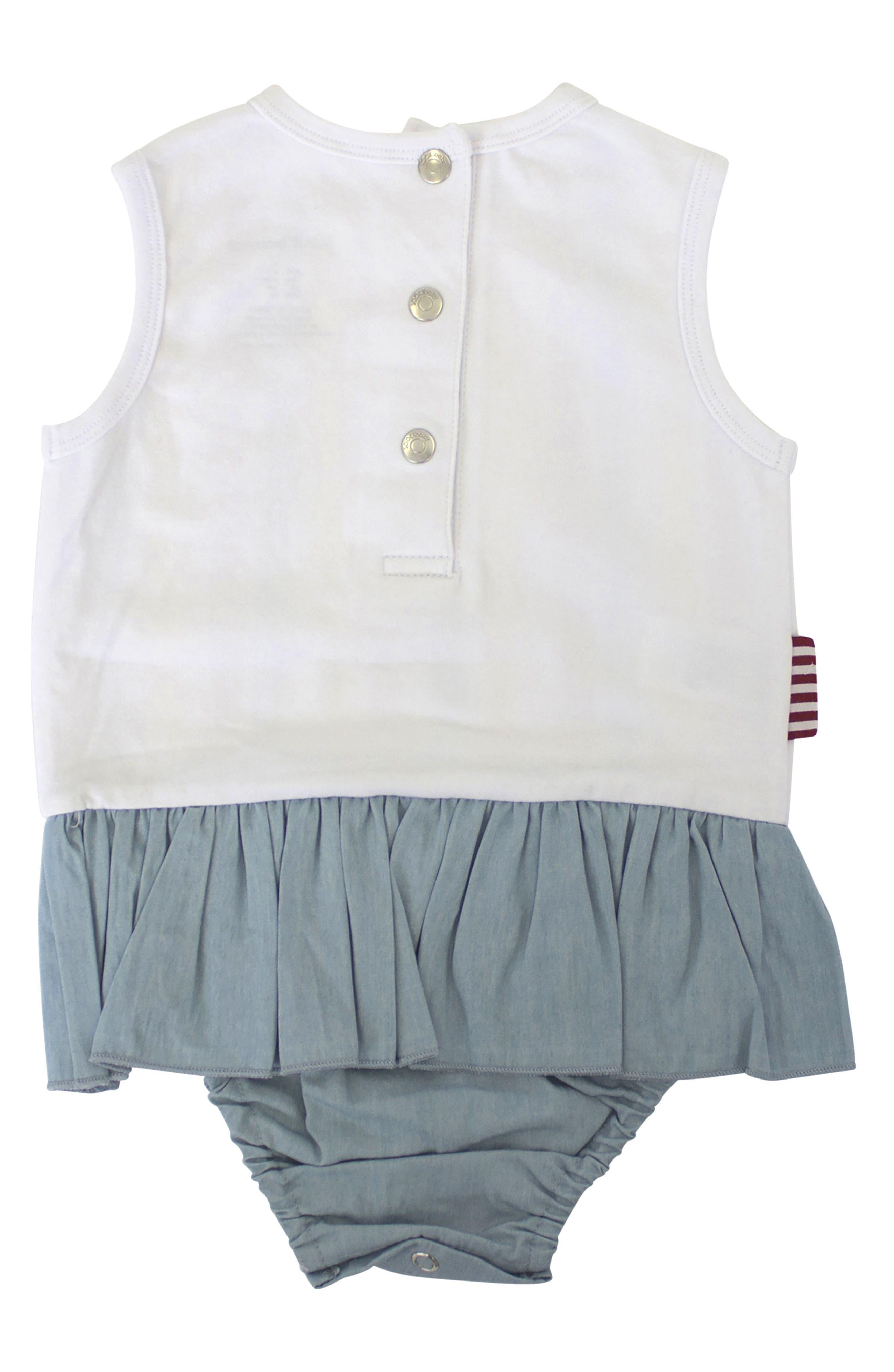 Skirted Bodysuit,                             Alternate thumbnail 2, color,                             White/ Chambray
