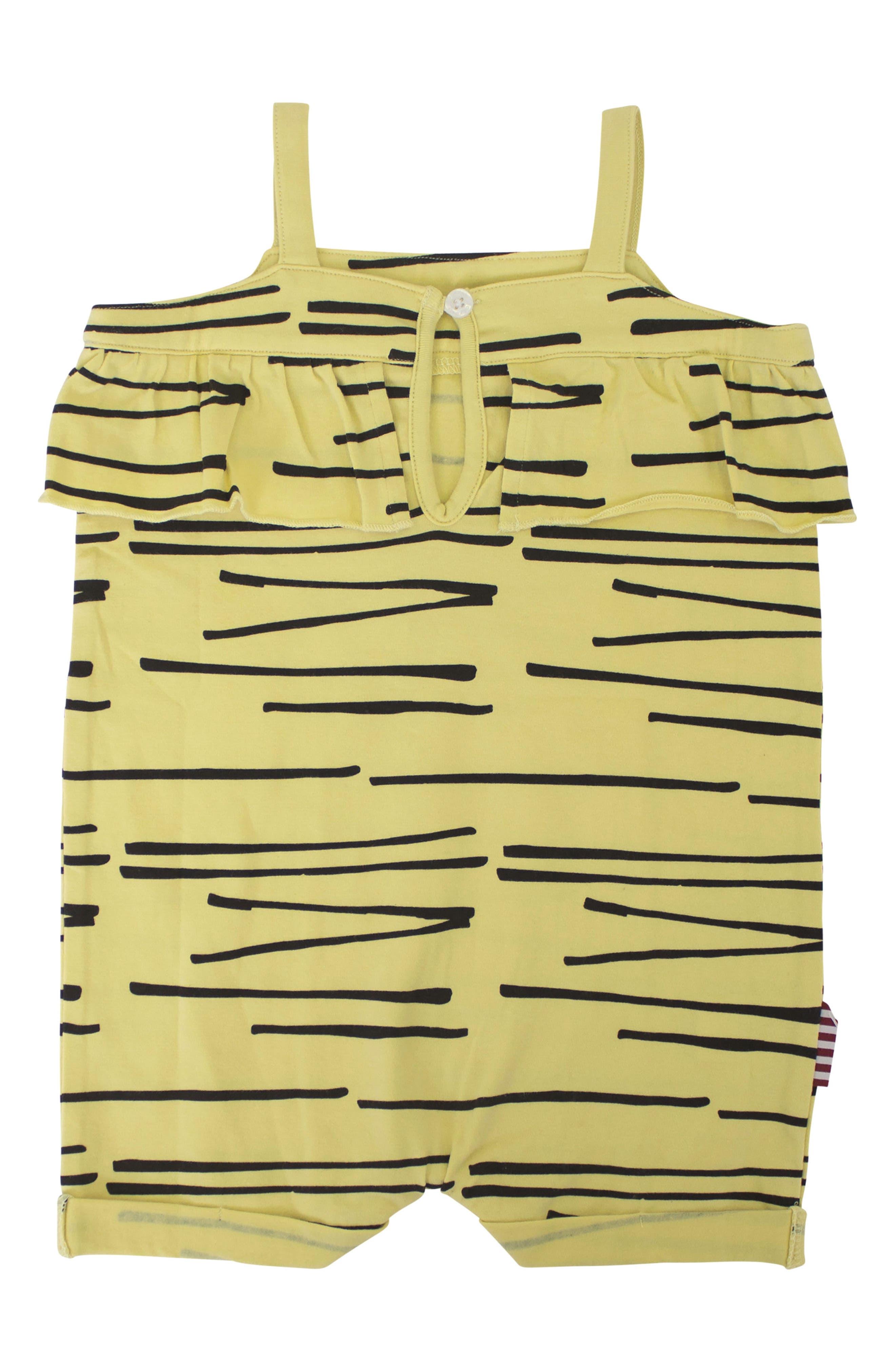 Tiger Stripe Ruffle Romper,                             Alternate thumbnail 2, color,                             Yellow
