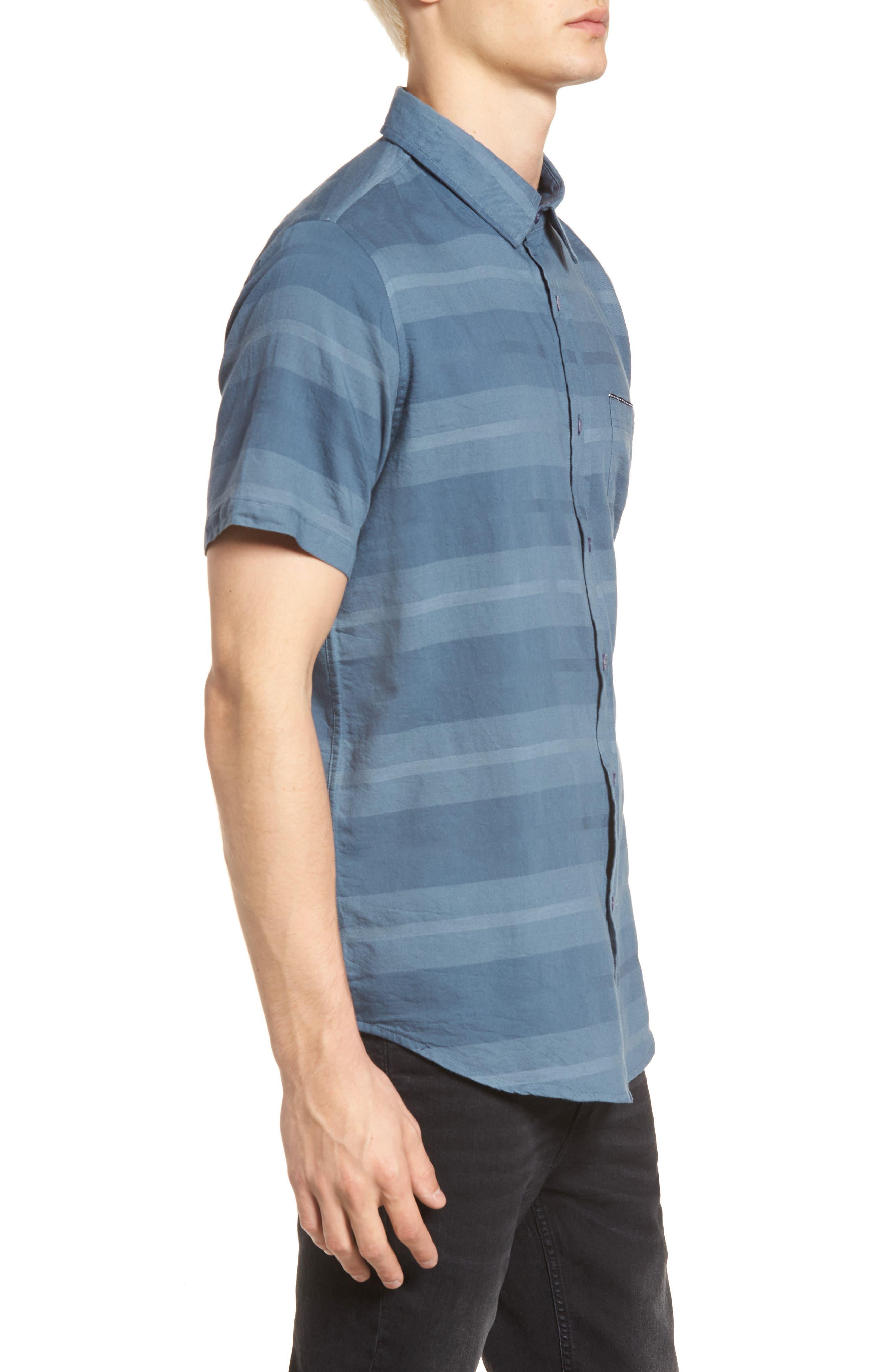 Dobson Woven Shirt,                             Alternate thumbnail 4, color,                             Storm Blue/Prison Blue Stripe