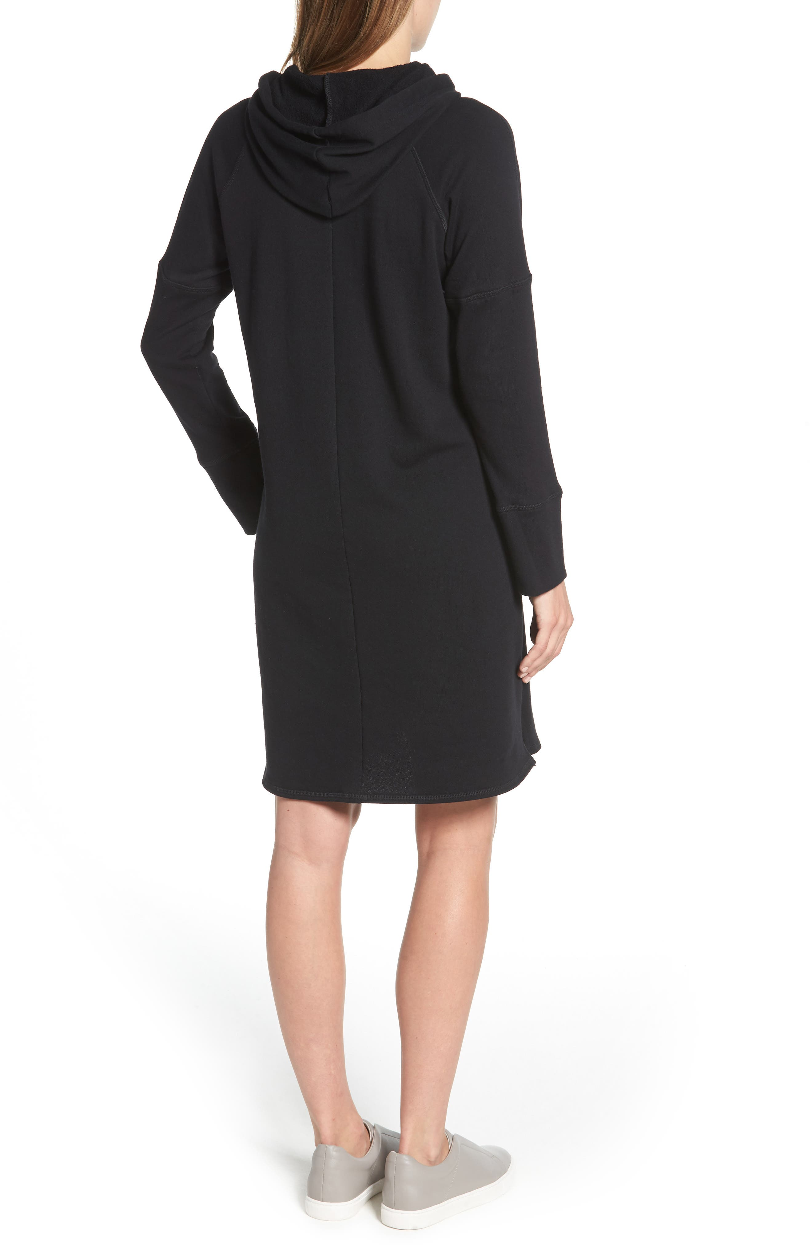Hooded French Terry Dress,                             Alternate thumbnail 2, color,                             Black