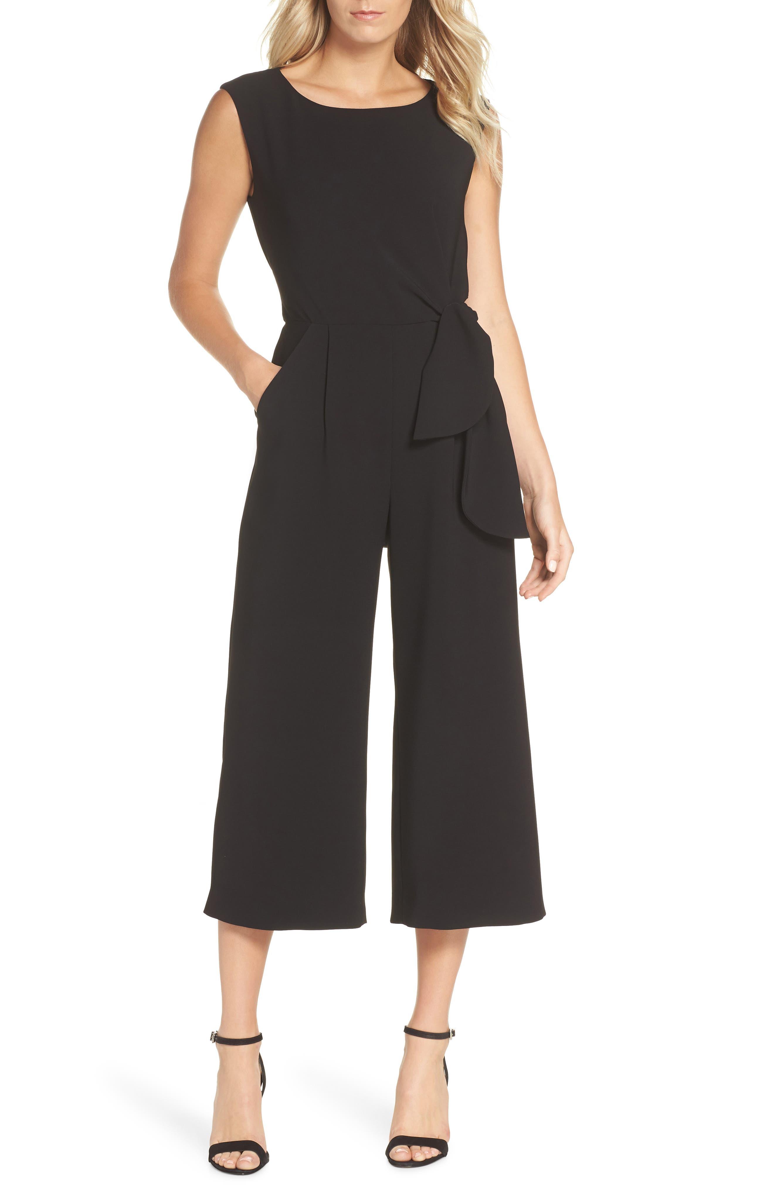 TAHARI Sleeveless Crepe Crop Jumpsuit in Black