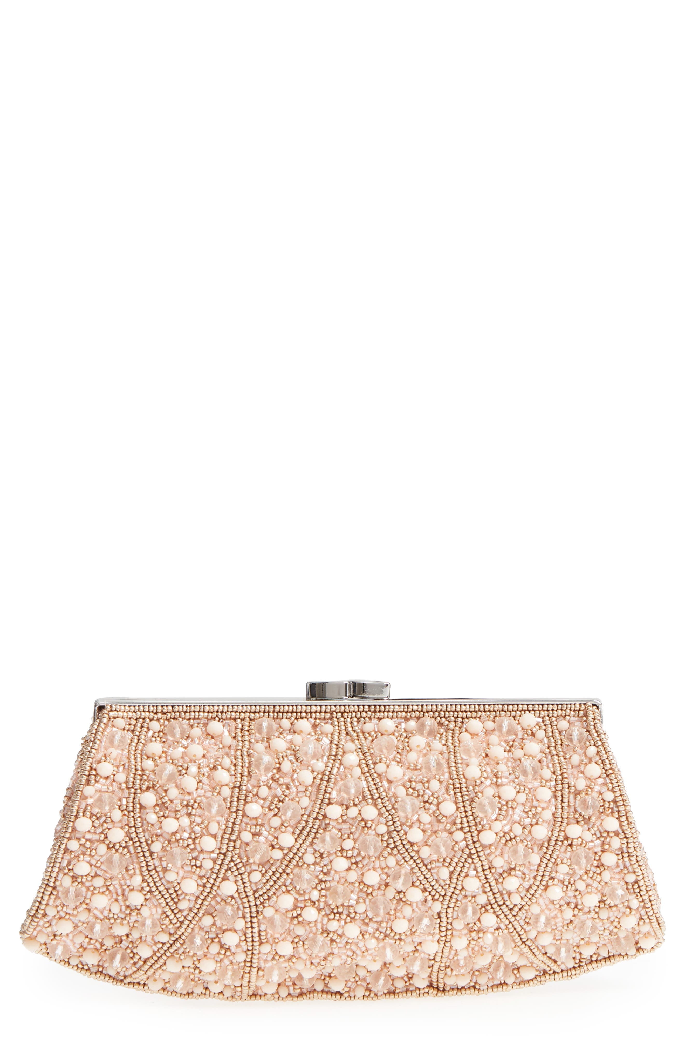 Beaded Rivoli Clutch,                         Main,                         color, Blush
