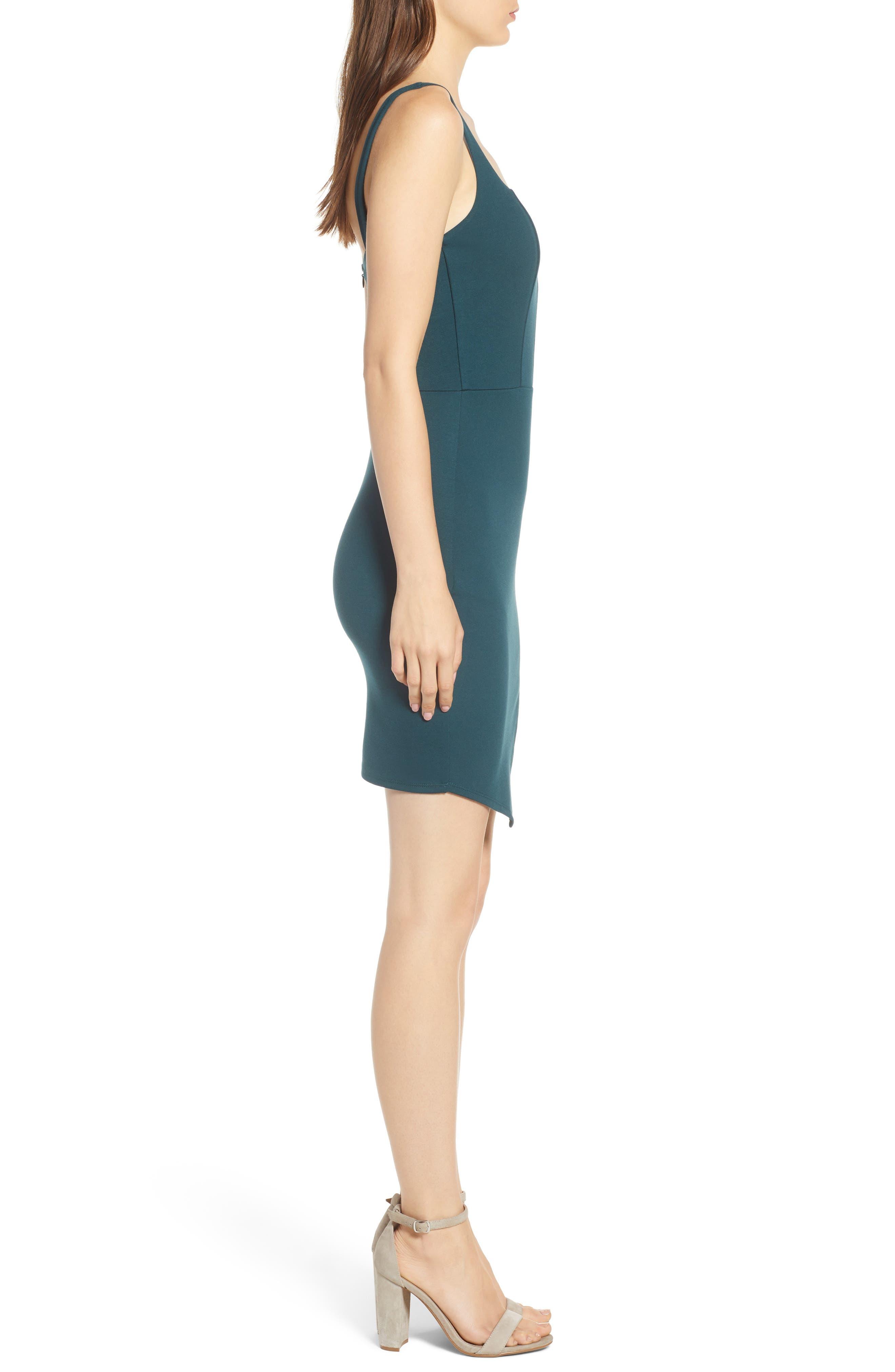 Body-Con Dress,                             Alternate thumbnail 3, color,                             Green Bug