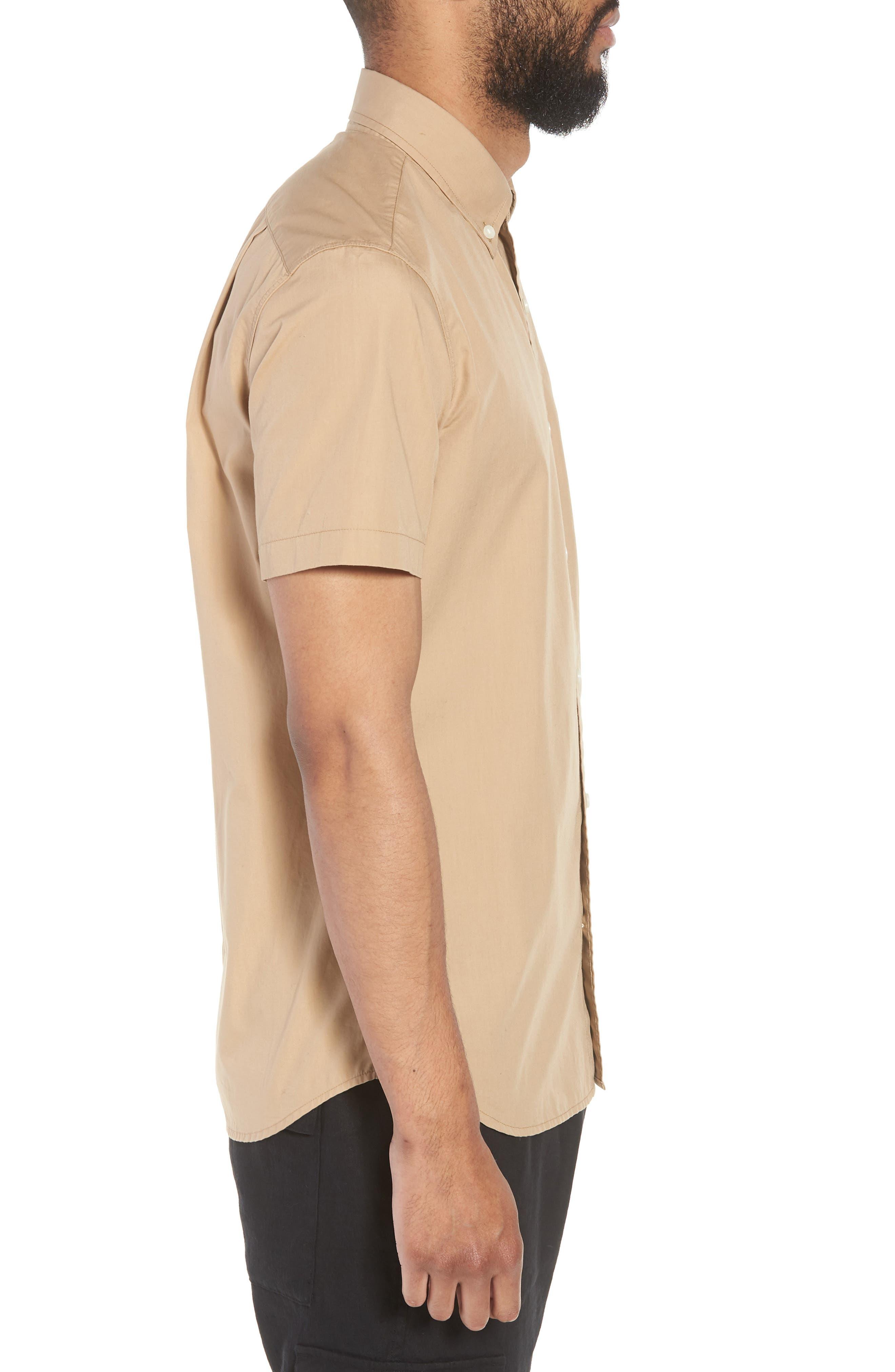 Slim Fit Solid Short Sleeve Sport Shirt,                             Alternate thumbnail 3, color,                             Khaki