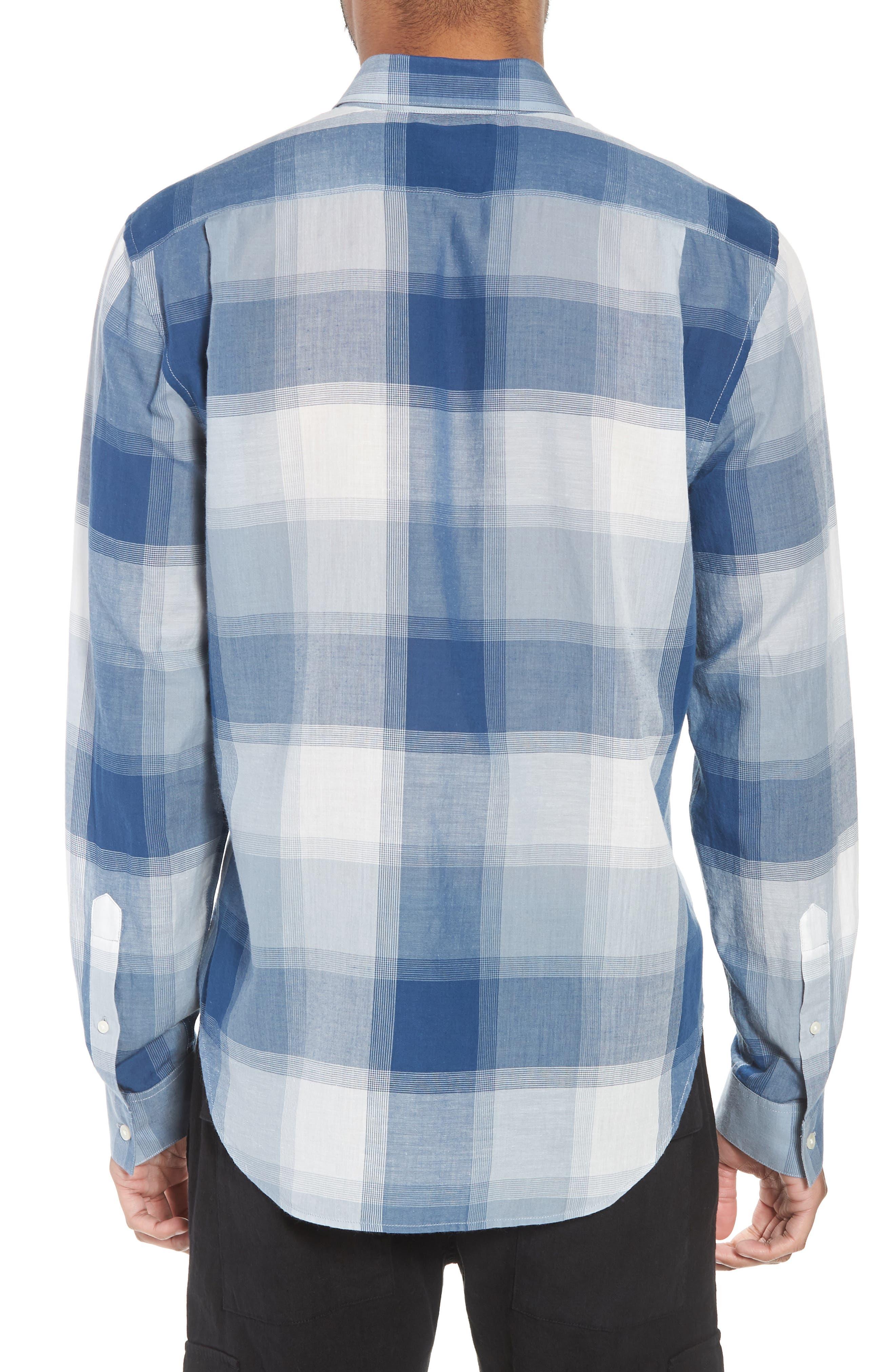 Classic Fit Plaid Sport Shirt,                             Alternate thumbnail 3, color,                             Ocean