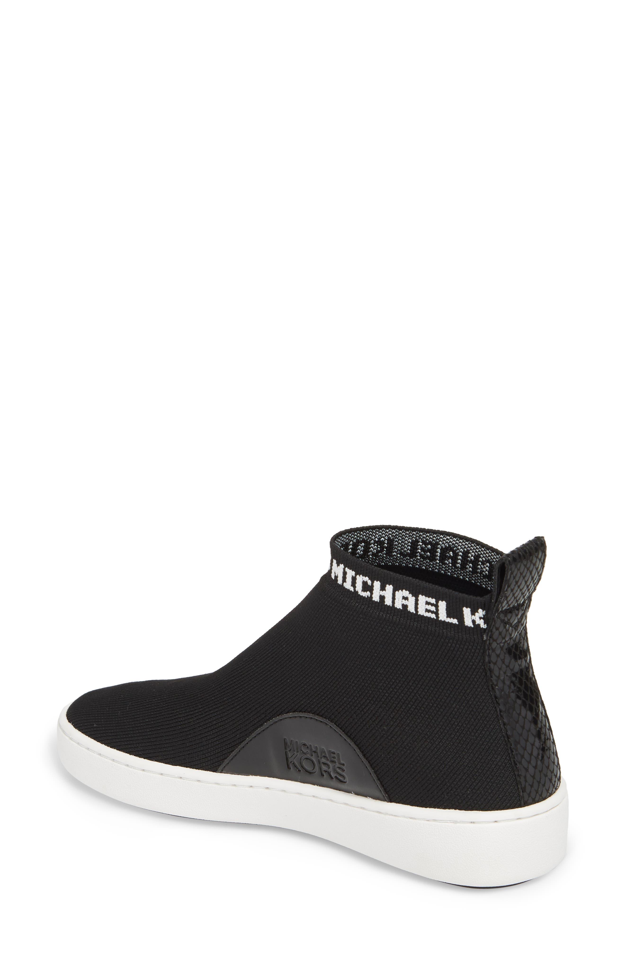 Hilda High Top Sock Sneaker,                             Alternate thumbnail 2, color,                             Black Knit Fabric