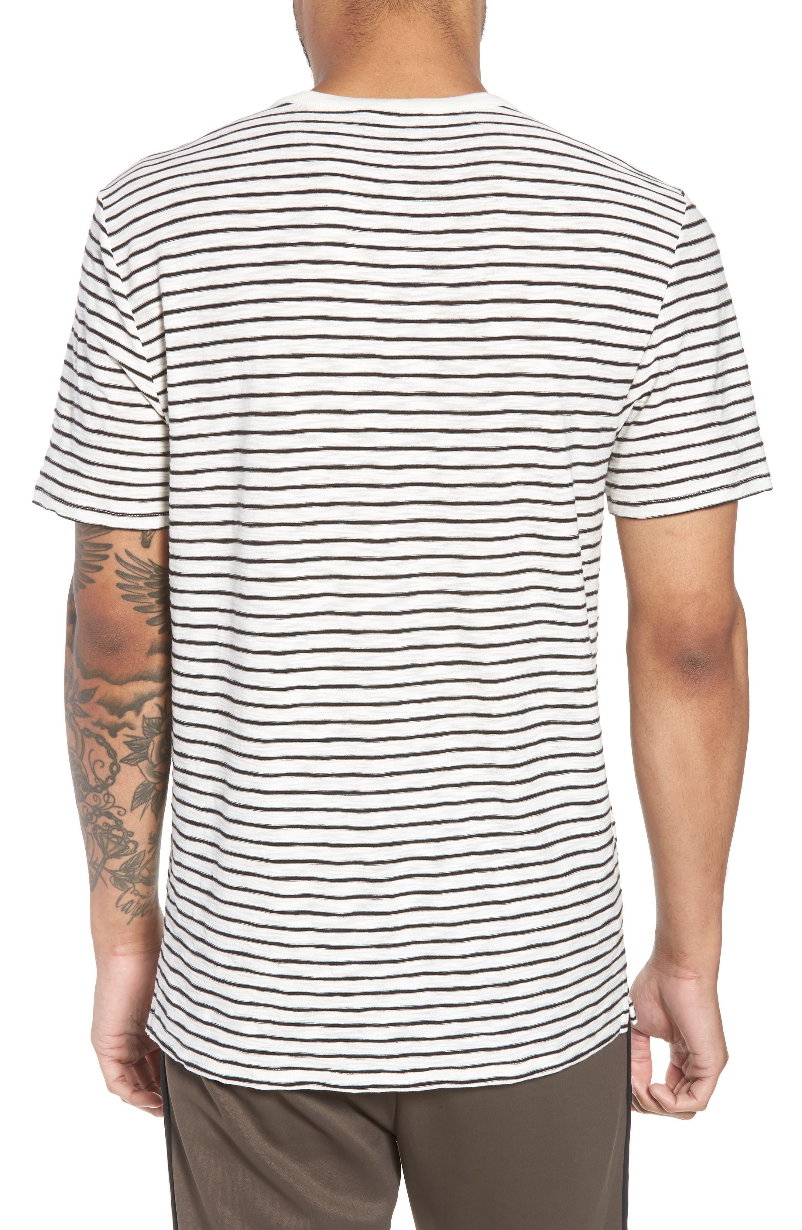 Stripe Crewneck T-Shirt,                             Alternate thumbnail 2, color,                             Off White/ Black