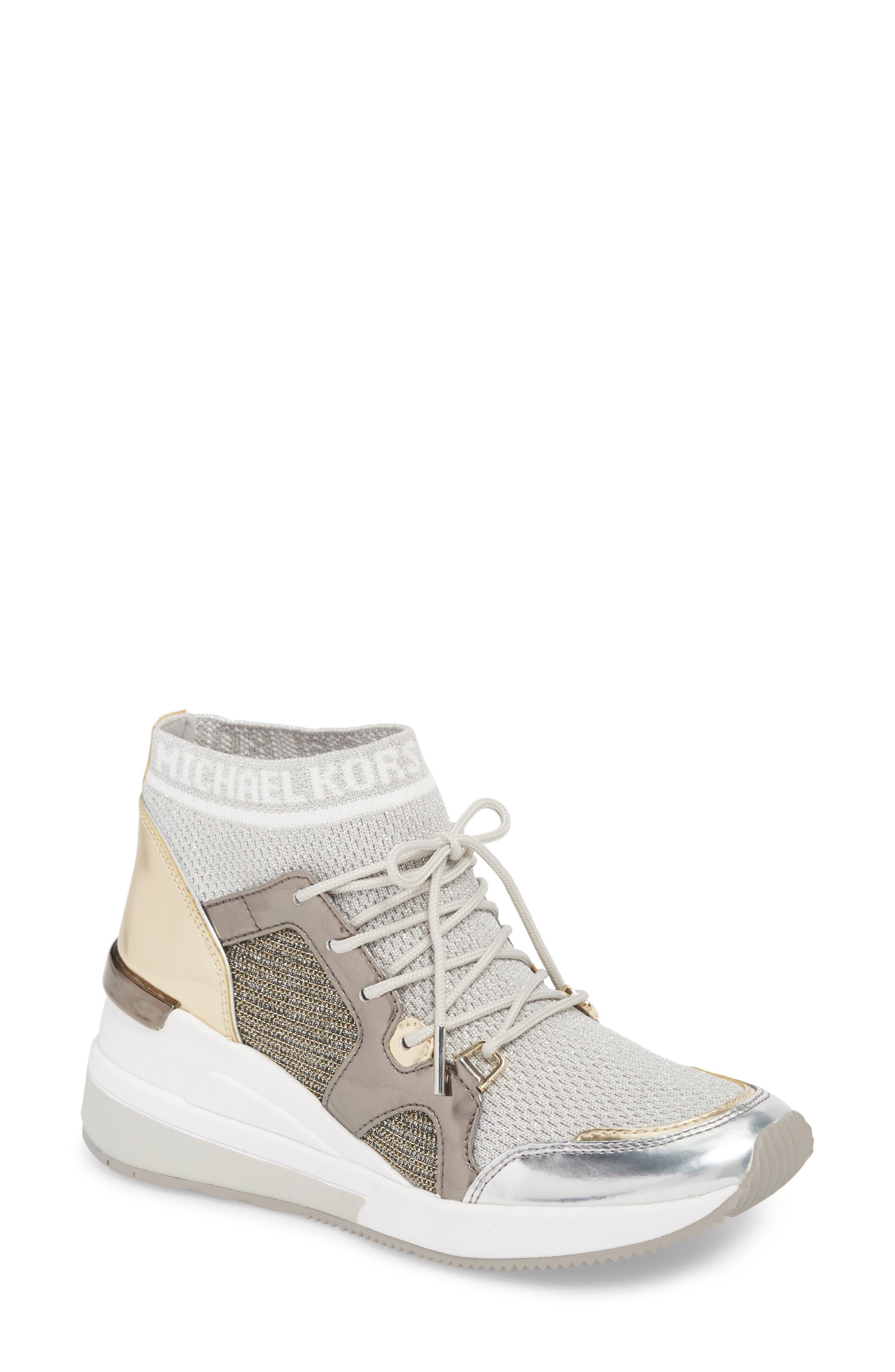 Hilda Wedge Sneaker,                         Main,                         color, Silver Knit Fabric