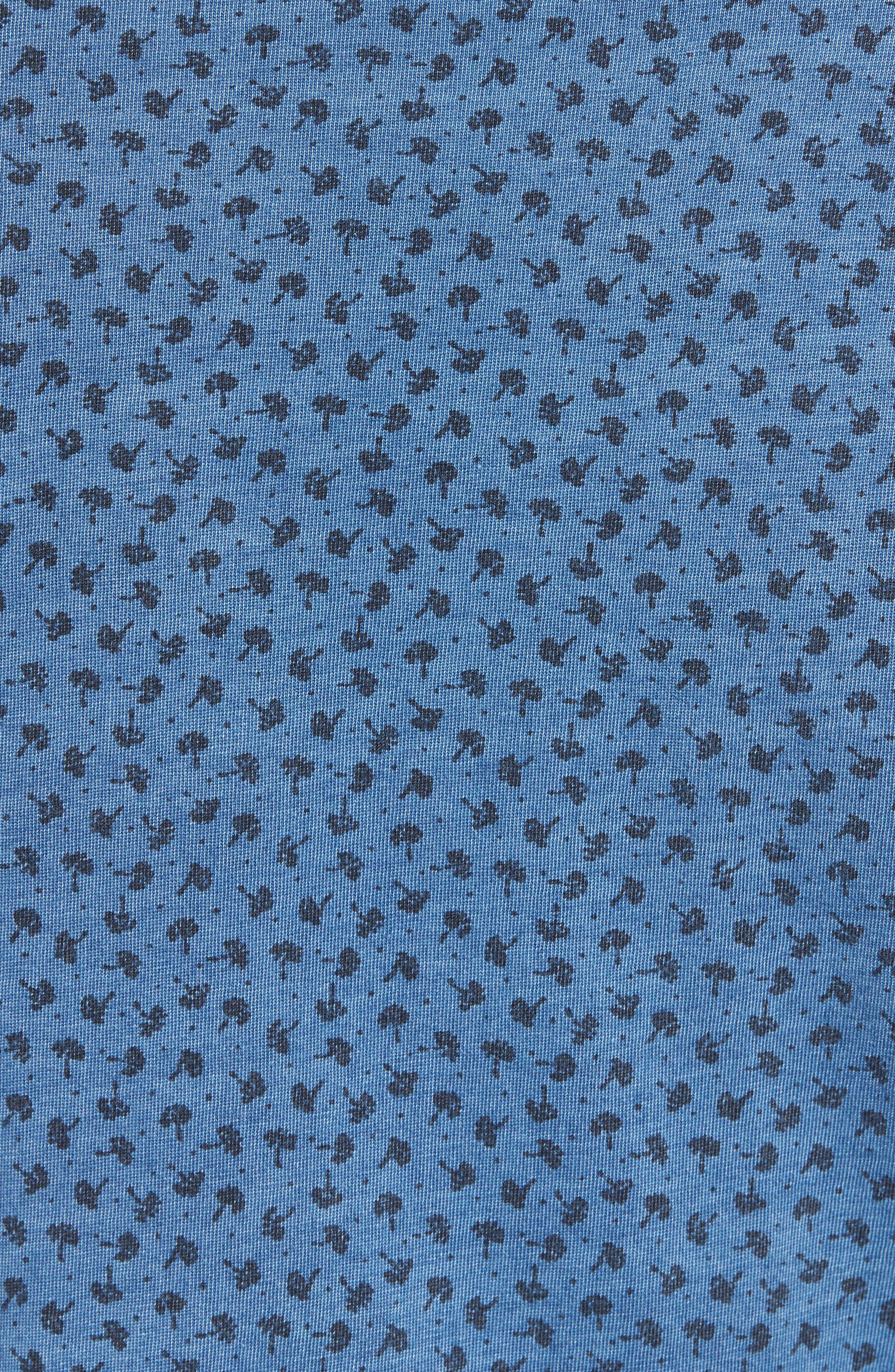 Washed Print Cotton Polo,                             Alternate thumbnail 5, color,                             Blue Indigo Print