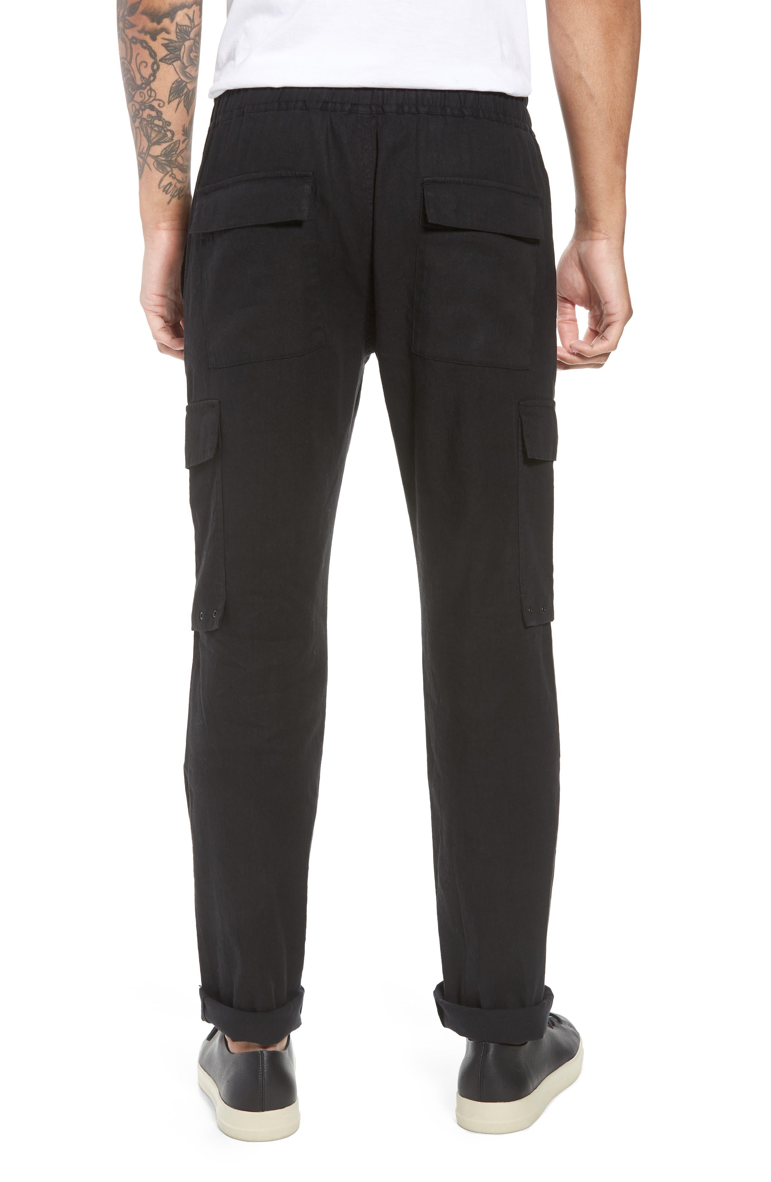 Stretch Linen & Cotton Cargo Pants,                             Alternate thumbnail 2, color,                             Black
