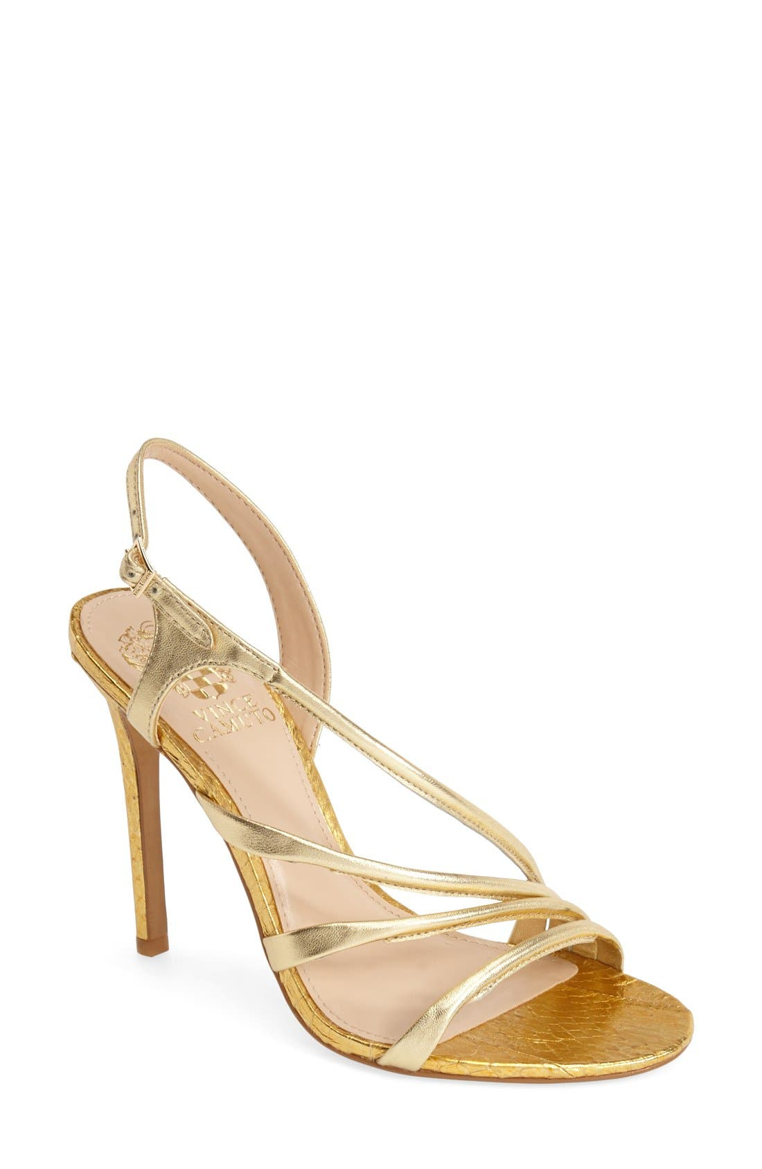 'Tiernan' Strappy Leather Sandal,                             Main thumbnail 1, color,                             Gold