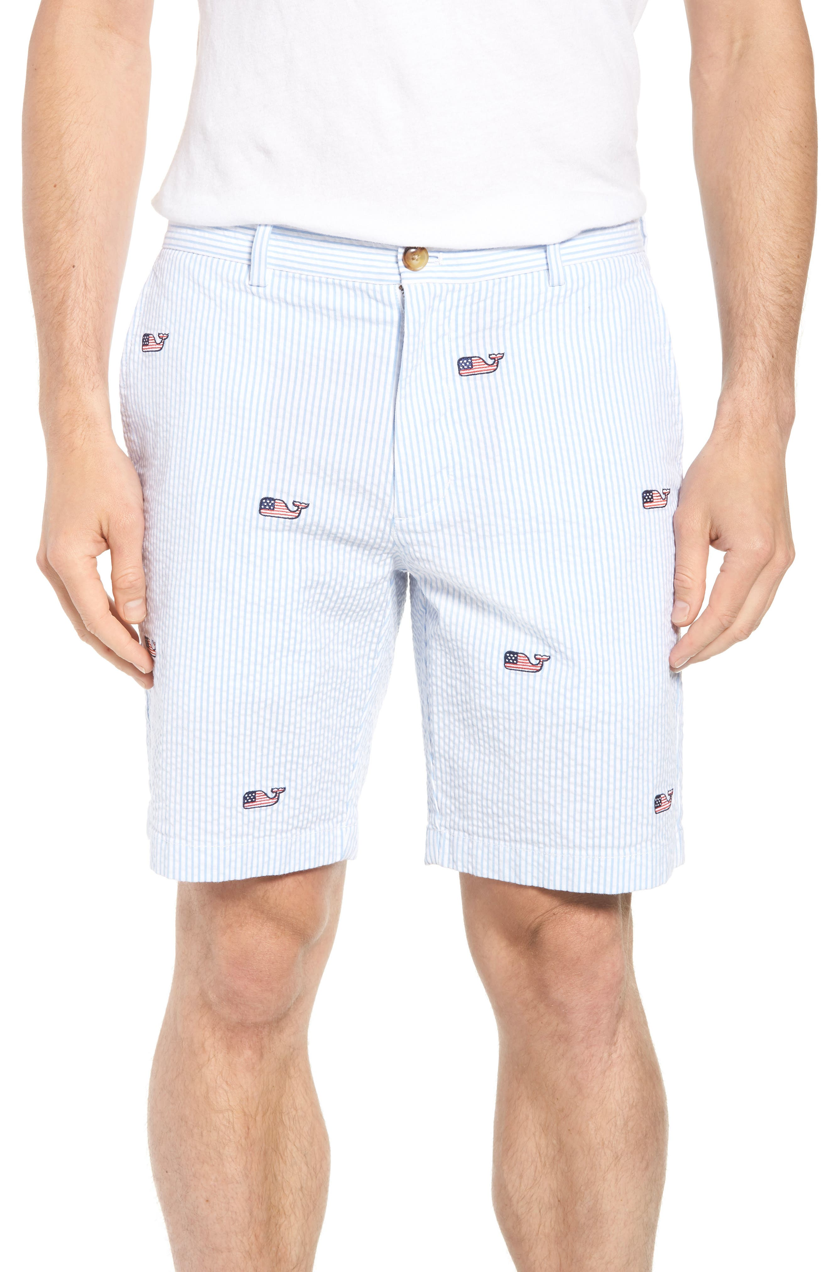 Seersucker Whale Shorts,                         Main,                         color, Ocean Breeze