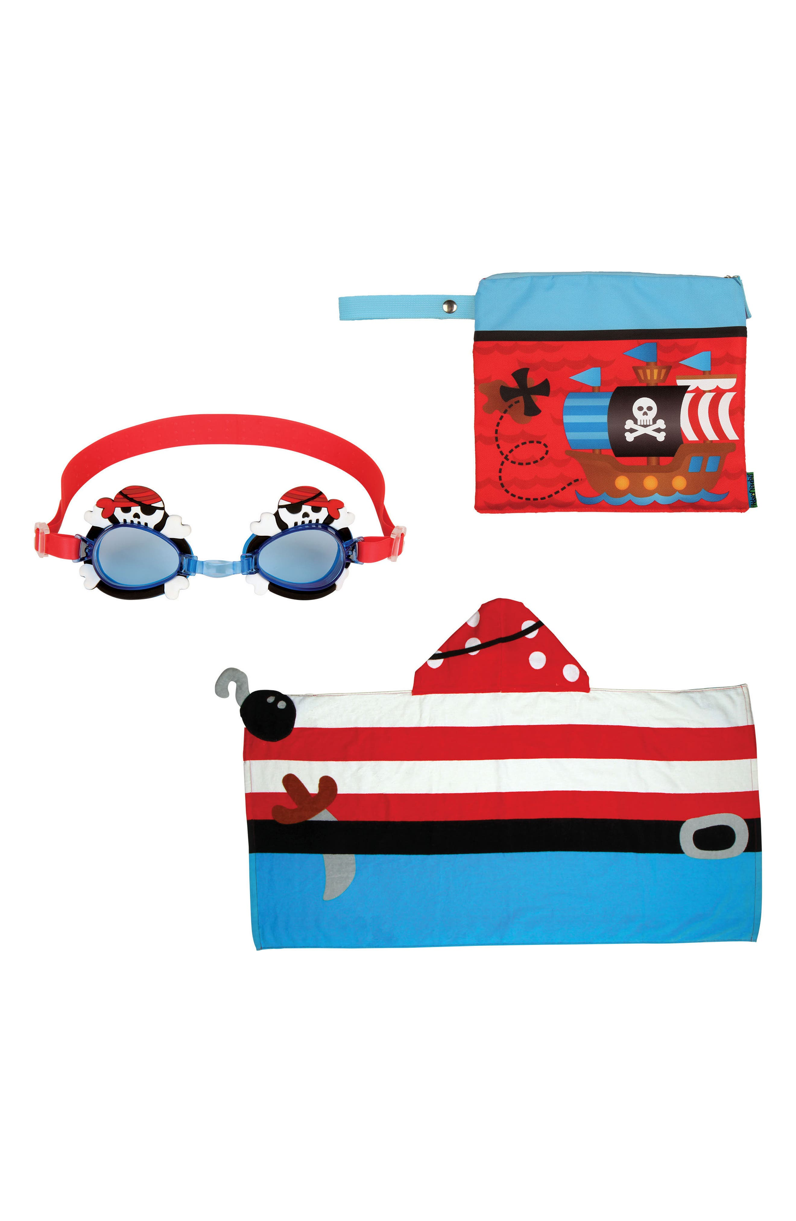 Bag, Hooded Towel & Goggles,                         Main,                         color, Red