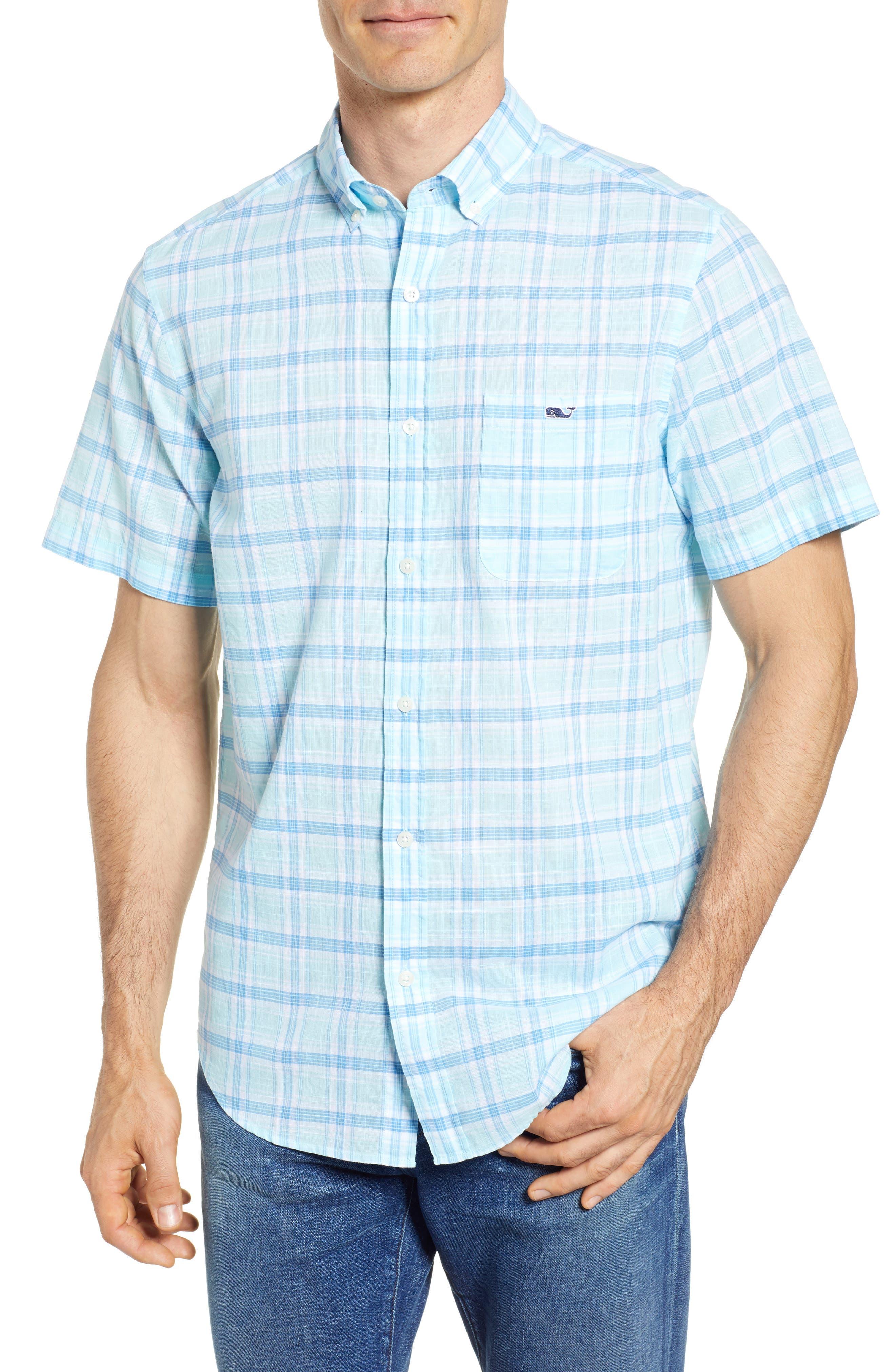 Pleasant Bay Classic Fit Plaid Sport Shirt,                         Main,                         color, Pool Side