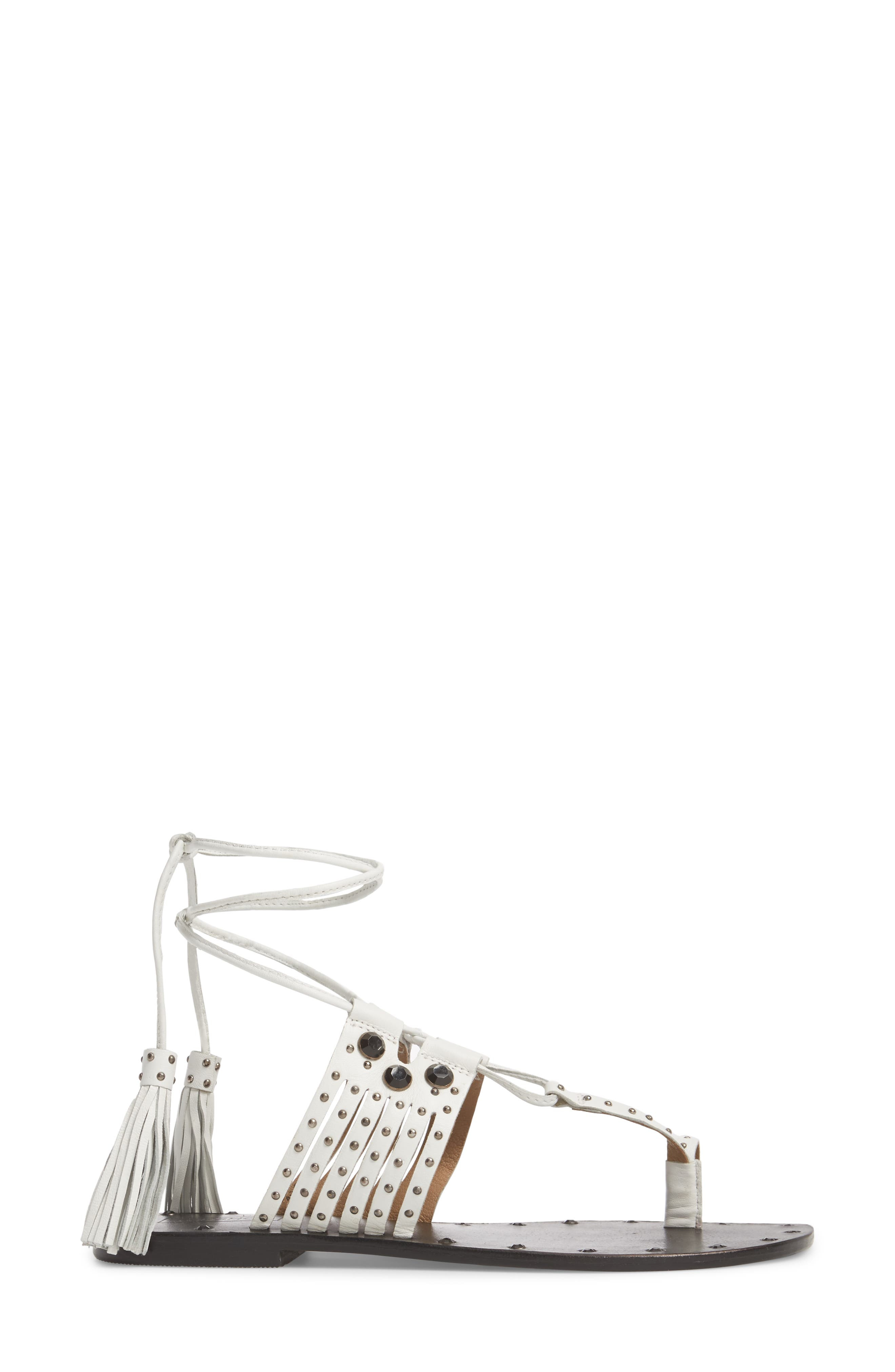Fay Embellished Wraparound Sandal,                             Alternate thumbnail 3, color,                             White Multi