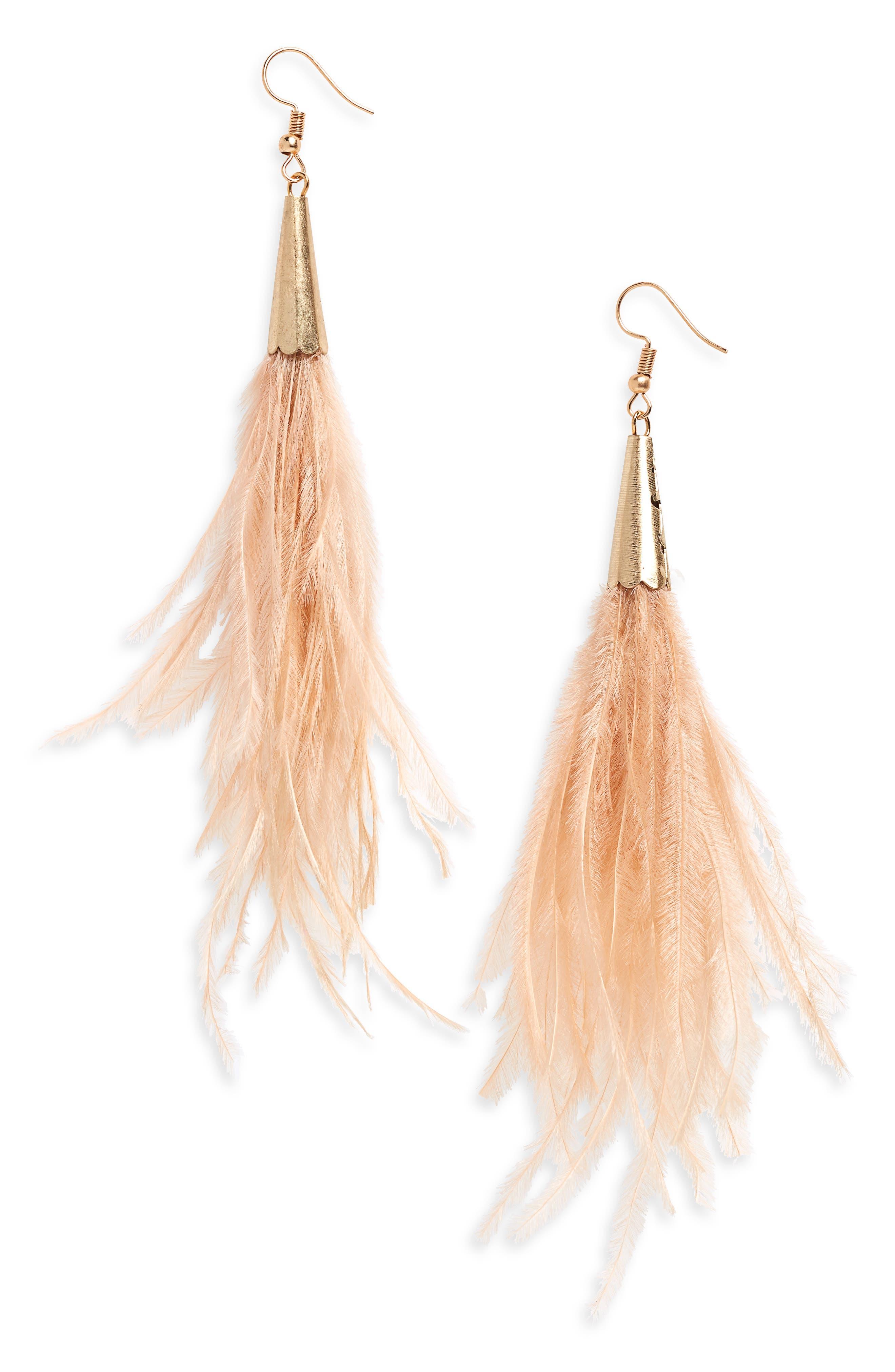 Feather Earrings,                             Main thumbnail 1, color,                             Tan