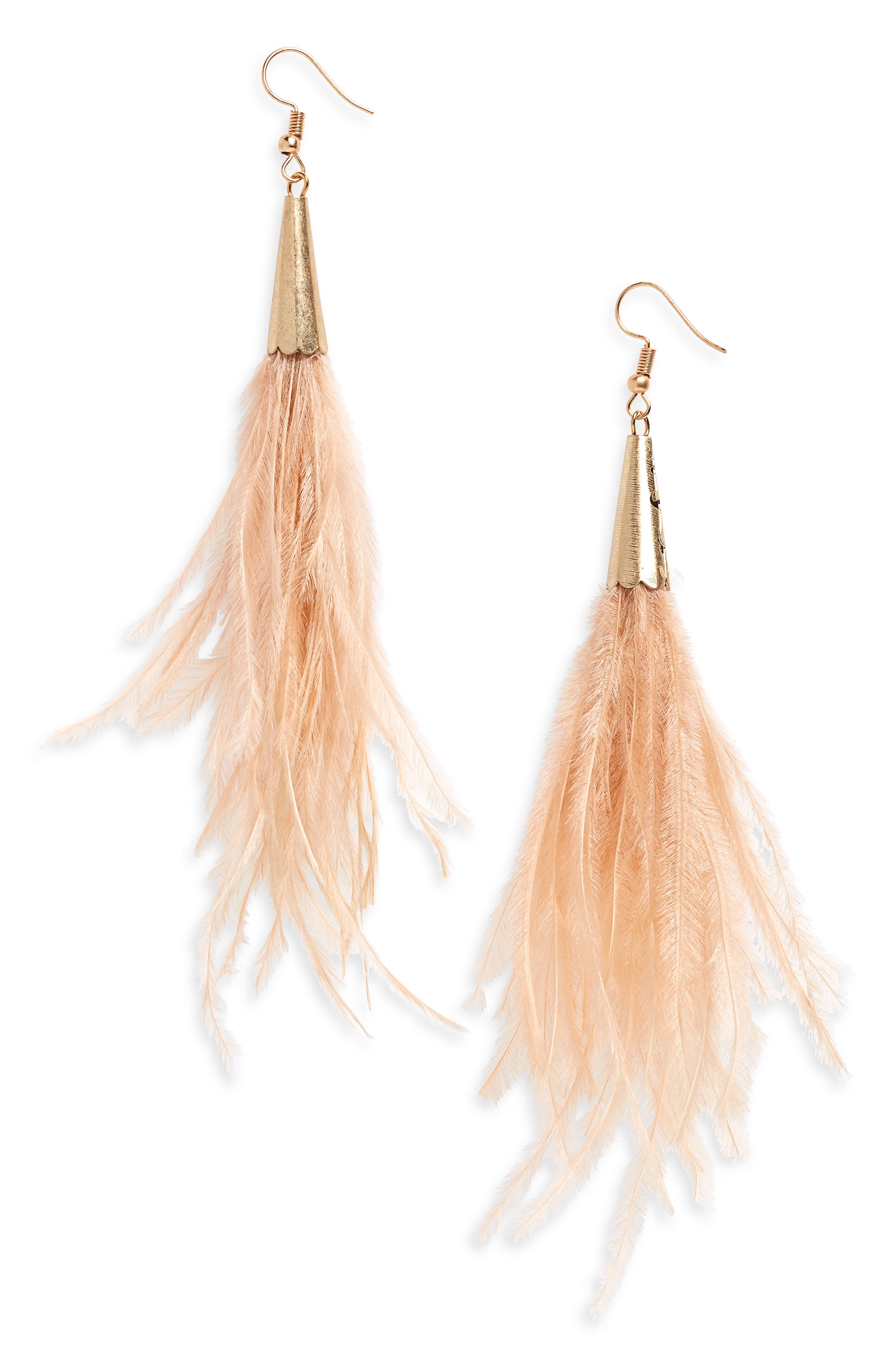 Feather Earrings,                         Main,                         color, Tan