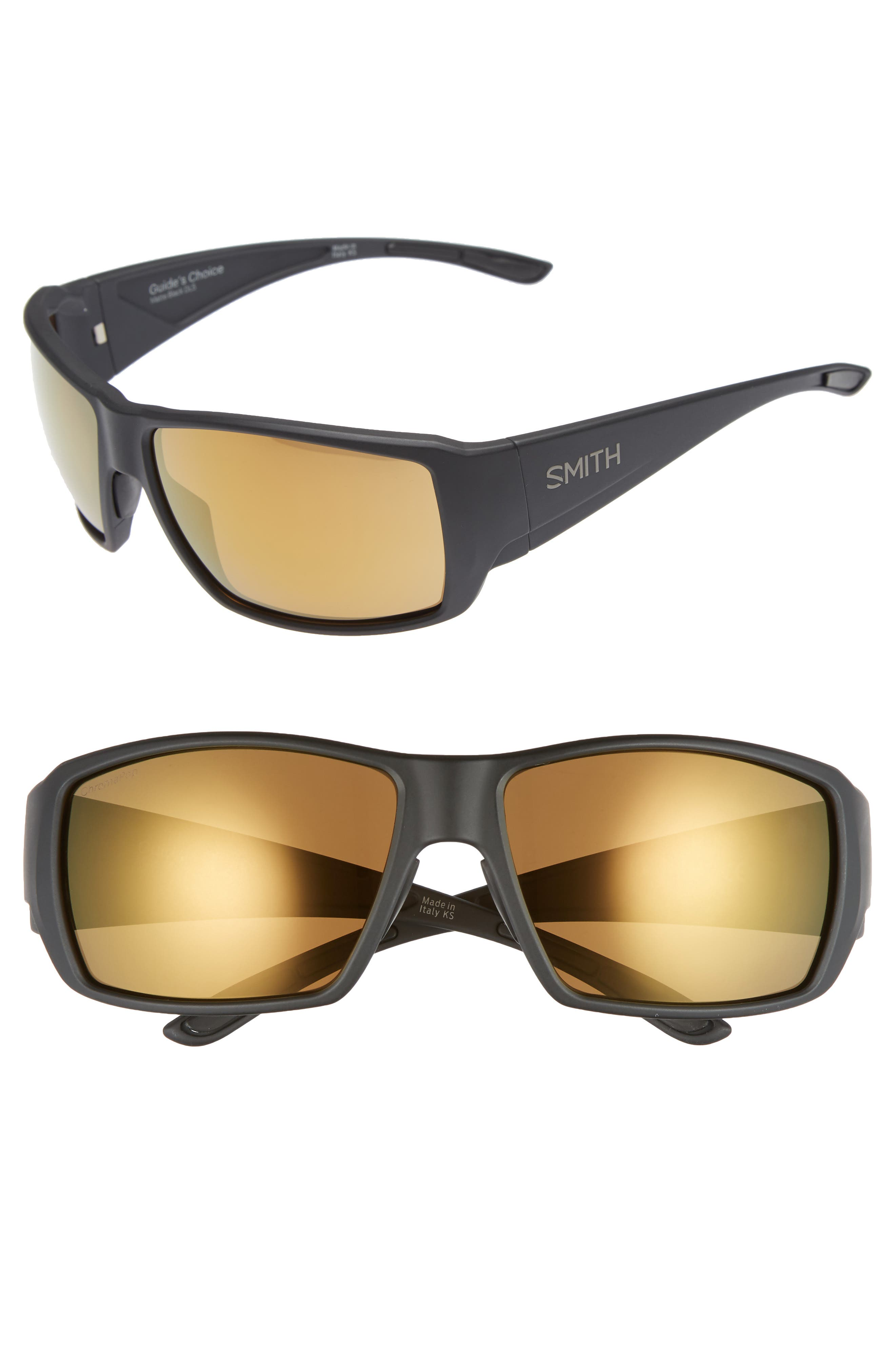 SMITH GUIDE'S CHOICE 62MM CHROMAPOP(TM) SPORT SUNGLASSES - MATTE BLACK/ BRONZE MIRROR