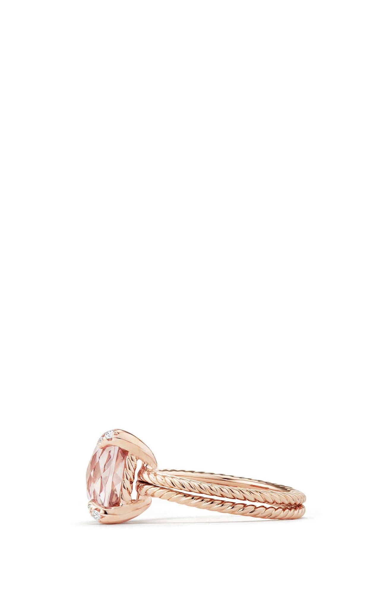 Chatelaine<sup>®</sup> Morganite & Diamond Ring in 18K Rose Gold,                             Alternate thumbnail 2, color,                             Rose Gold/ Diamond/ Morganite