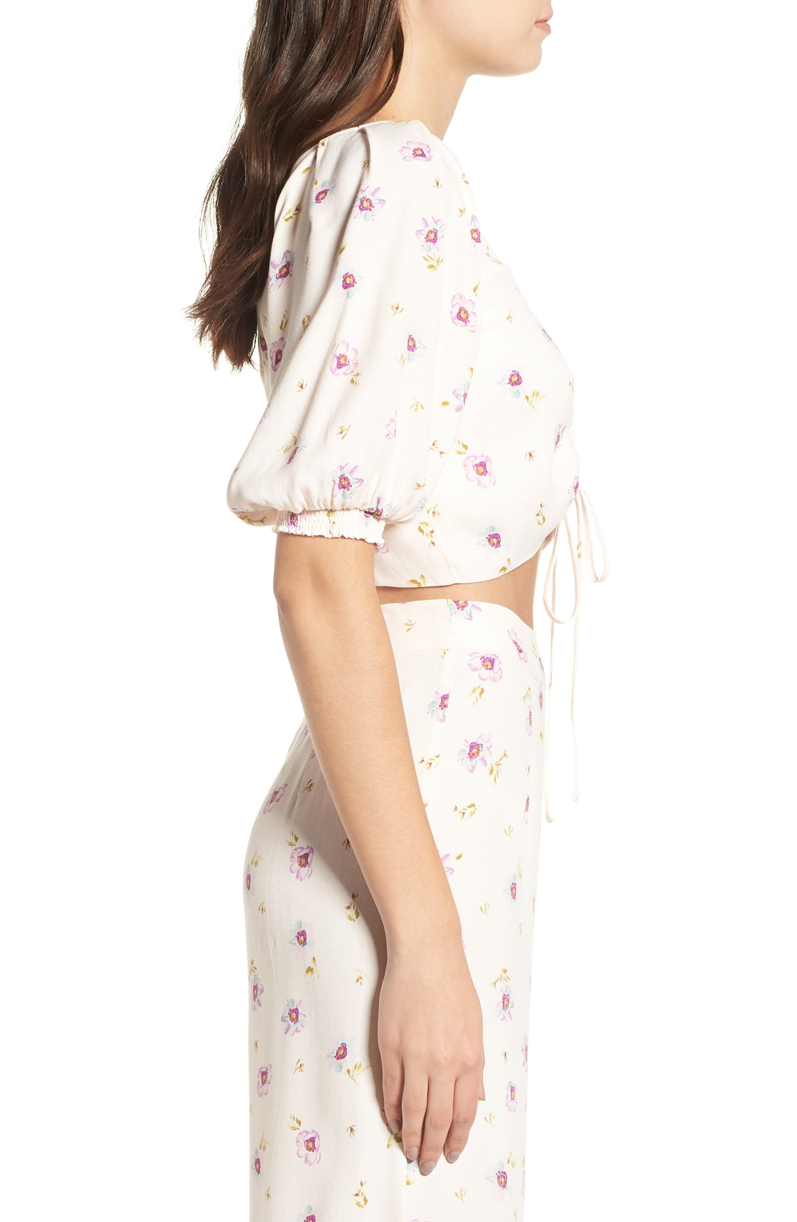 Rodeo Ruched Crop Top,                             Alternate thumbnail 4, color,                             Lilac Floral
