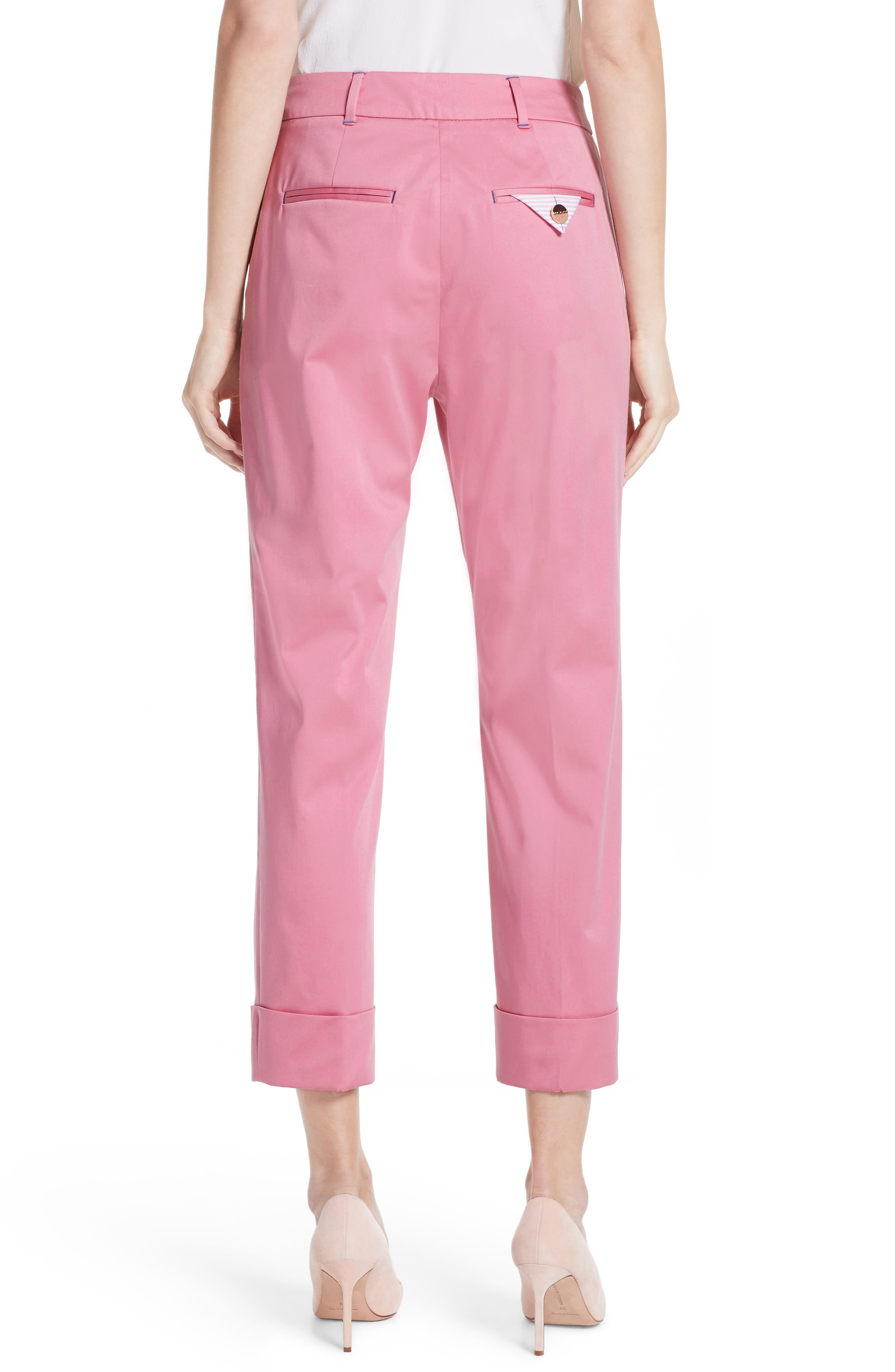 Saydii Deep Cuff Stretch Cotton Chino Pants,                             Alternate thumbnail 2, color,                             Dusky Pink