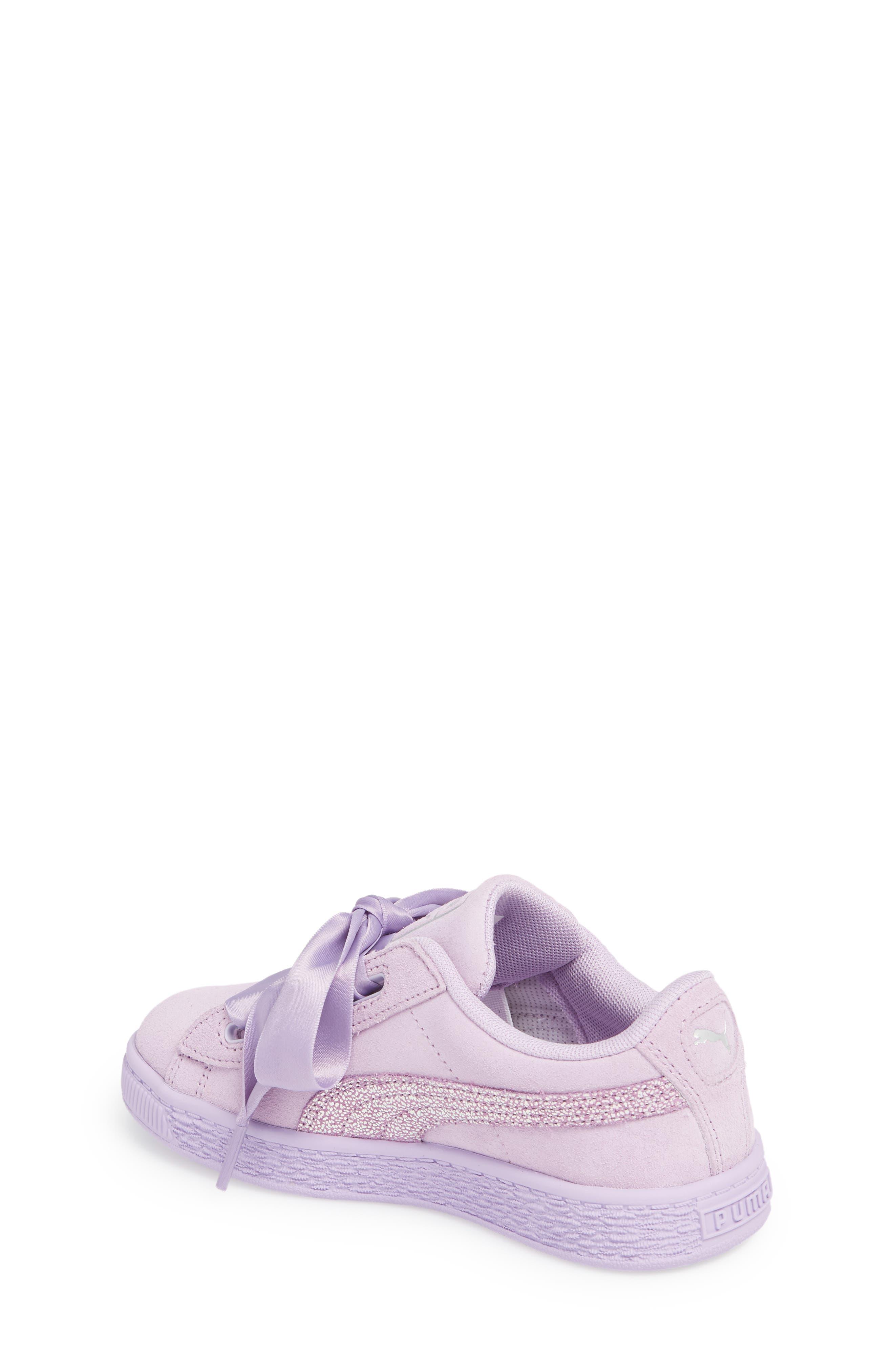 Basket Heart Glitz Sneaker,                             Alternate thumbnail 2, color,                             Purple Haze/ Silver