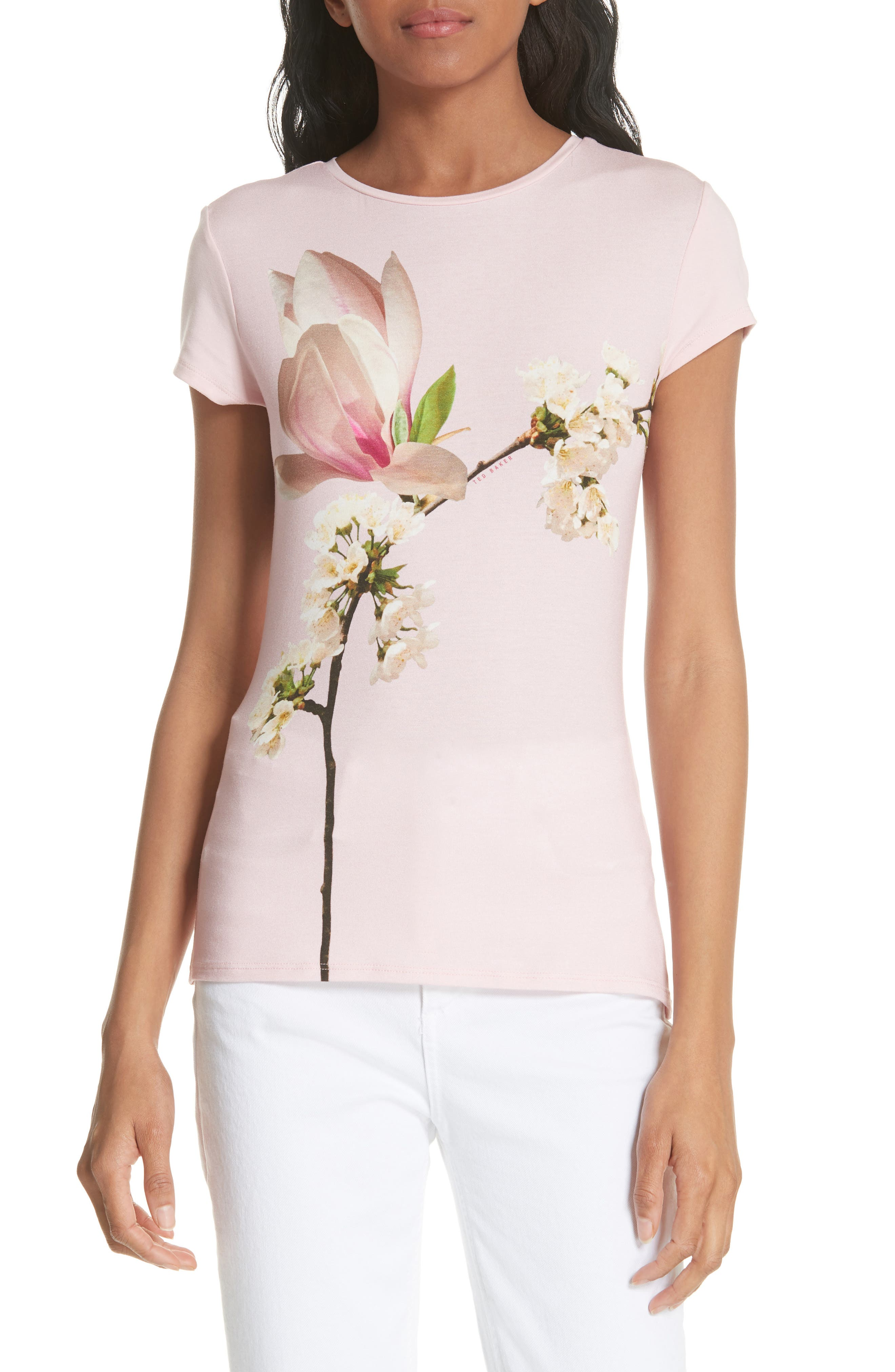 Ameliza Harmony Fitted Tee,                             Main thumbnail 1, color,                             Pale Pink