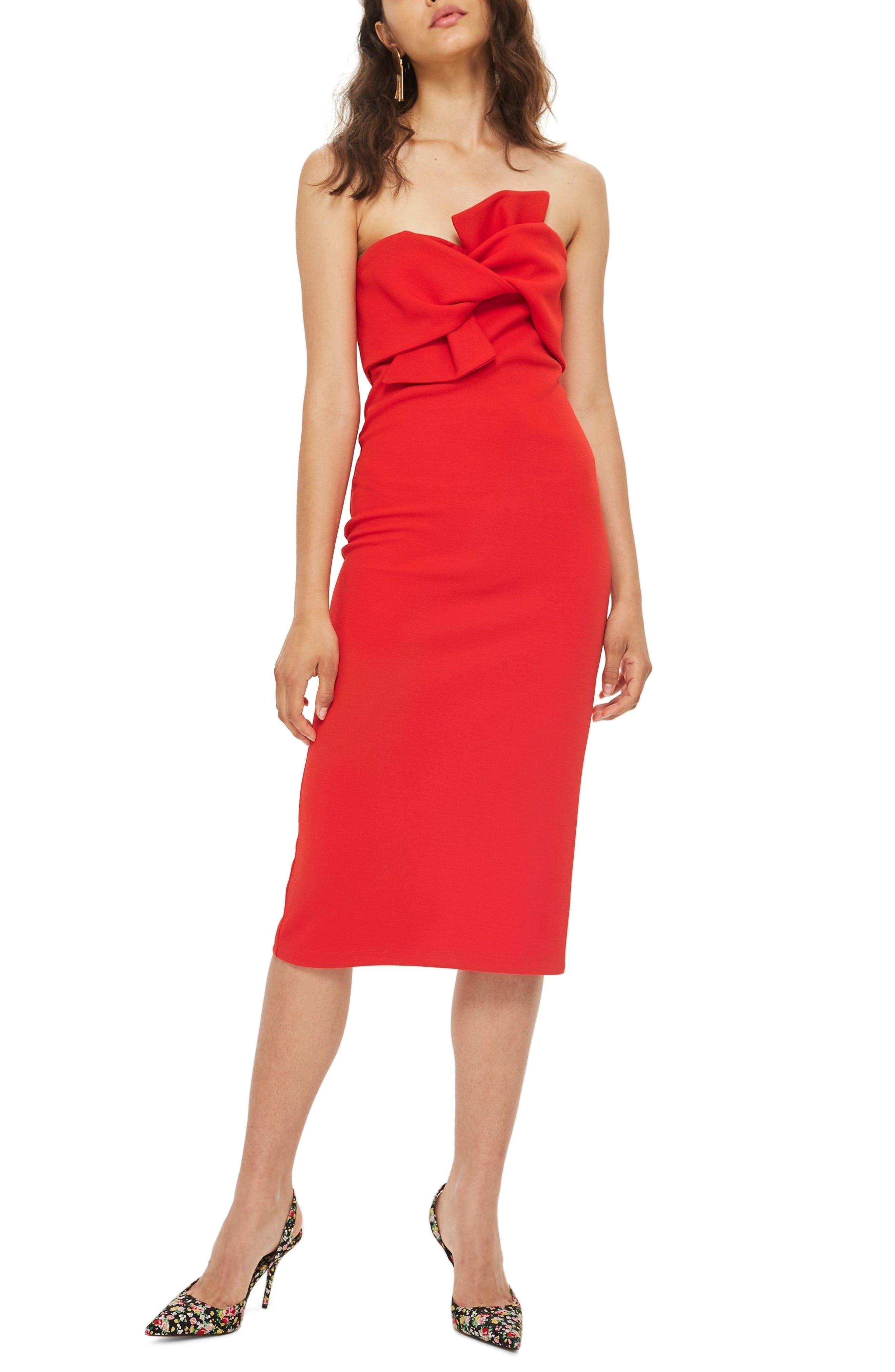 Topshop Bow Twist Textured Midi Dress