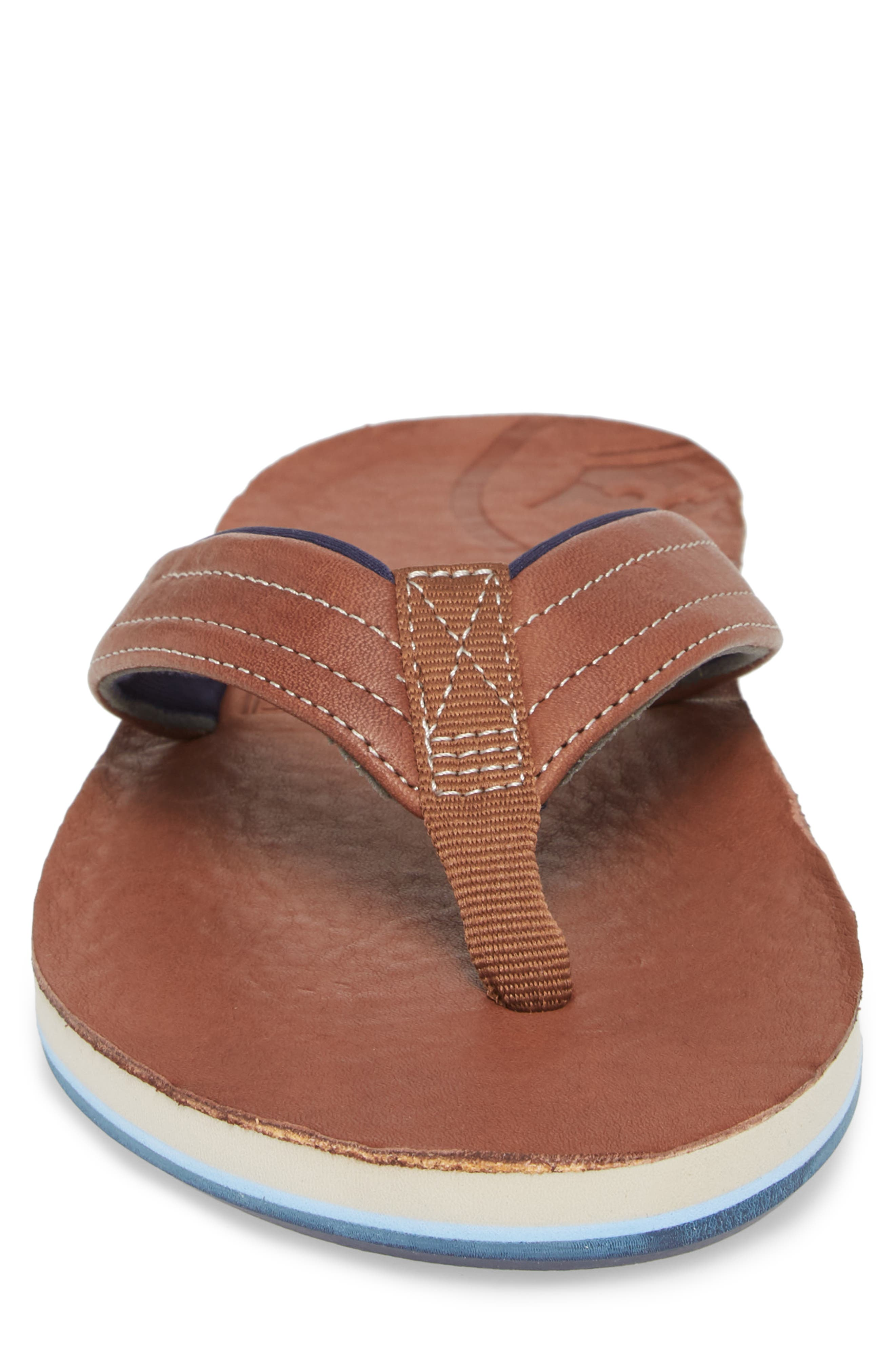 x Peter Millar Leather Flip Flop,                             Alternate thumbnail 4, color,                             Dark Chocolate Leather