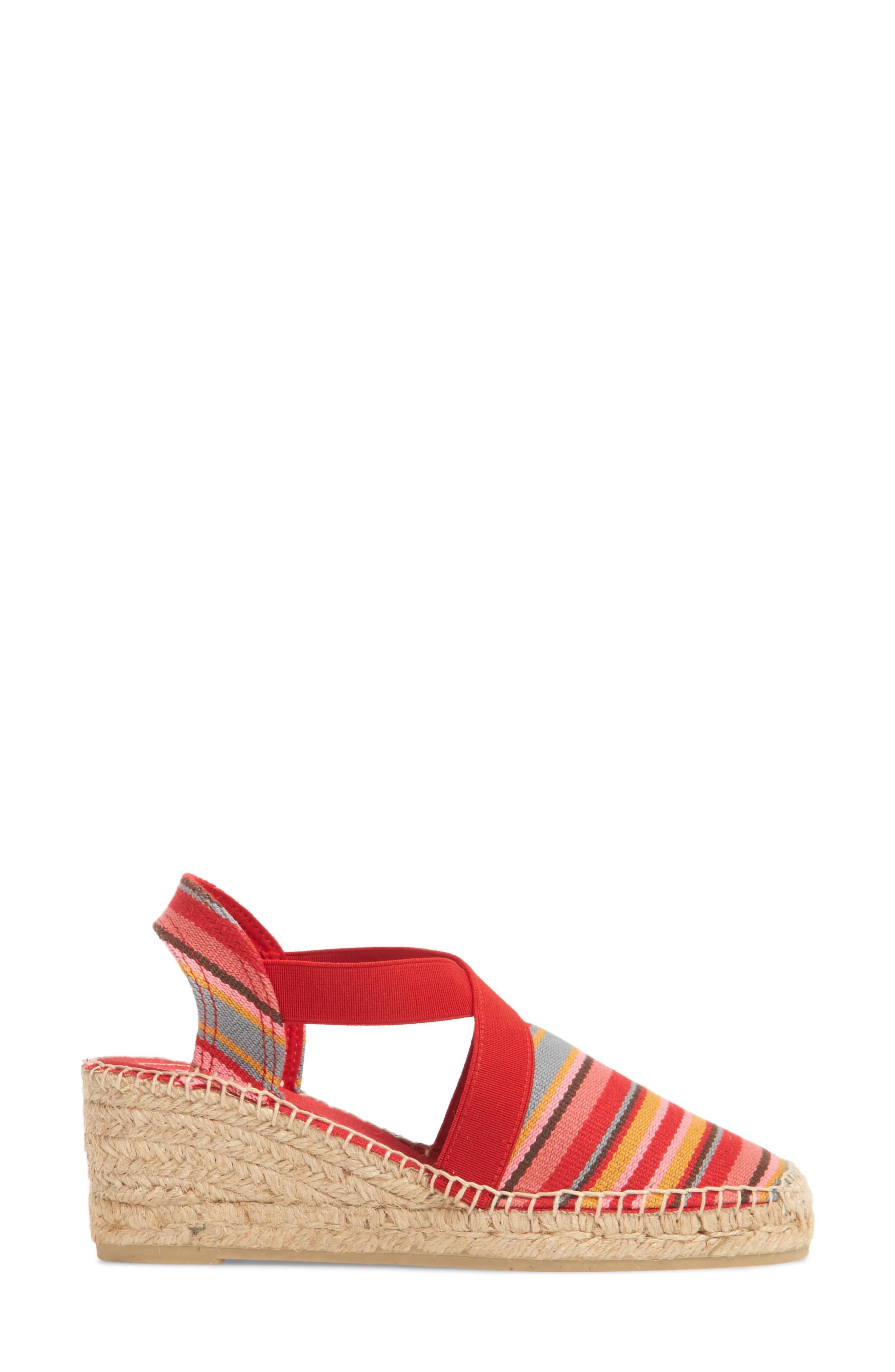 'Tarbes' Espadrille Wedge Sandal,                             Alternate thumbnail 3, color,                             Red Fabric