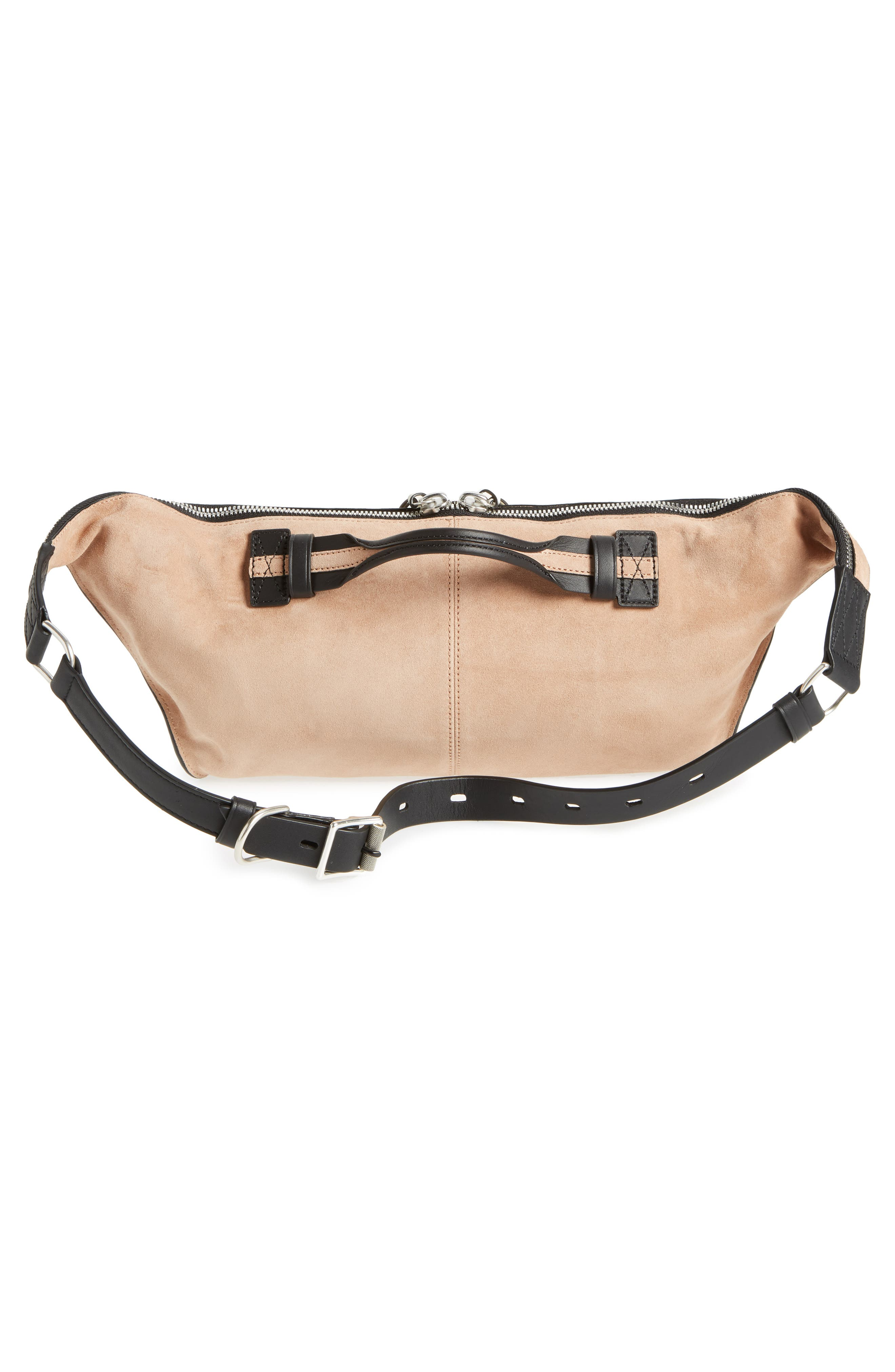 Elliot Leather Fanny Pack,                             Alternate thumbnail 4, color,                             Nude Suede
